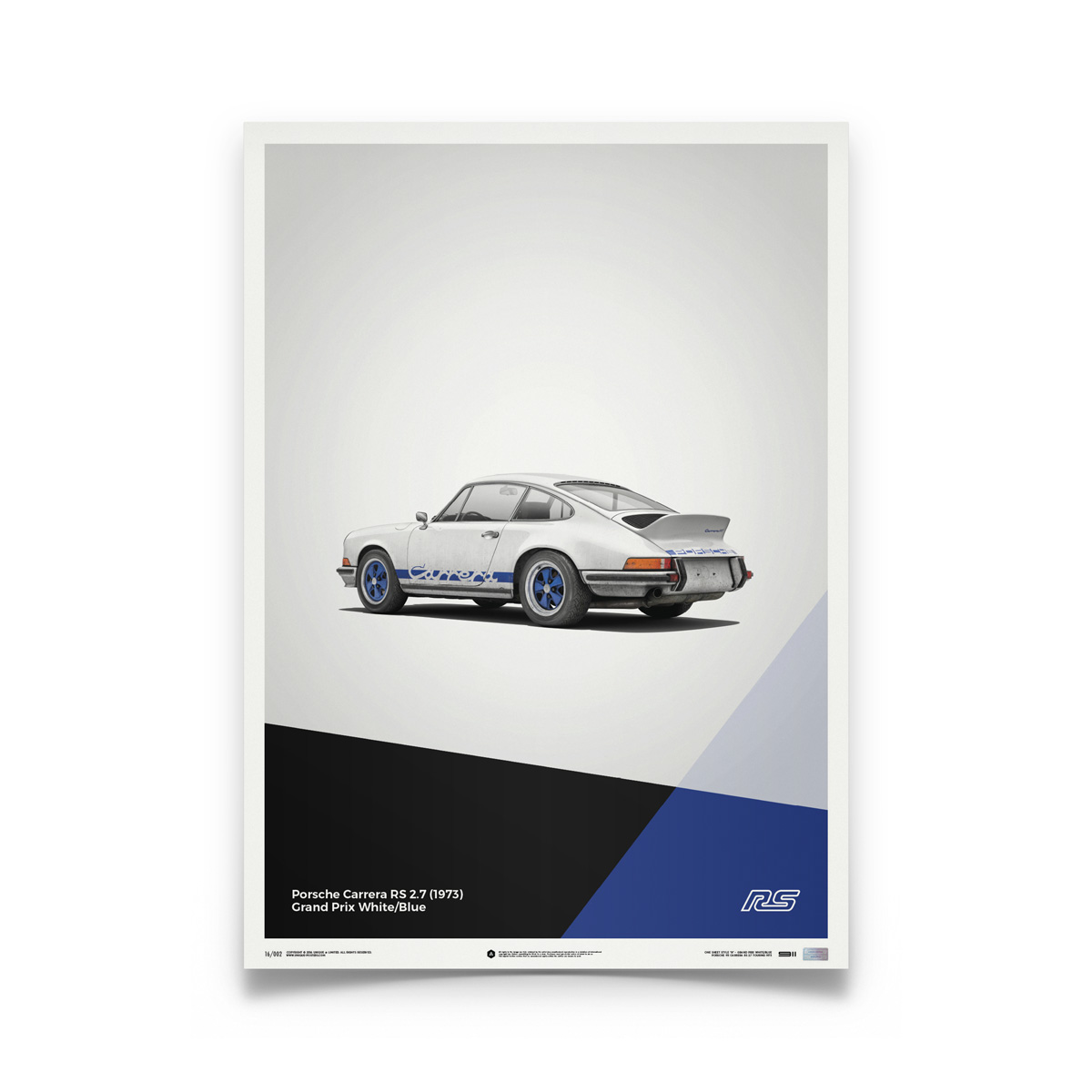 Product image for Porsche 911 RS – White - 1973 | Automobilist | Limited Edition poster