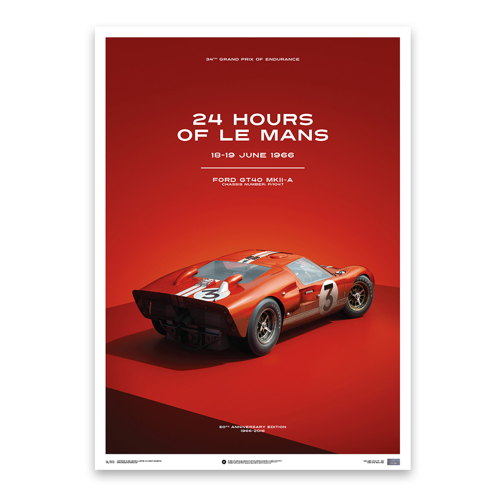 Product image for Dan Gurney – Ford GT40 – Le Mans 1966 | Automobilist | Limited Edition poster