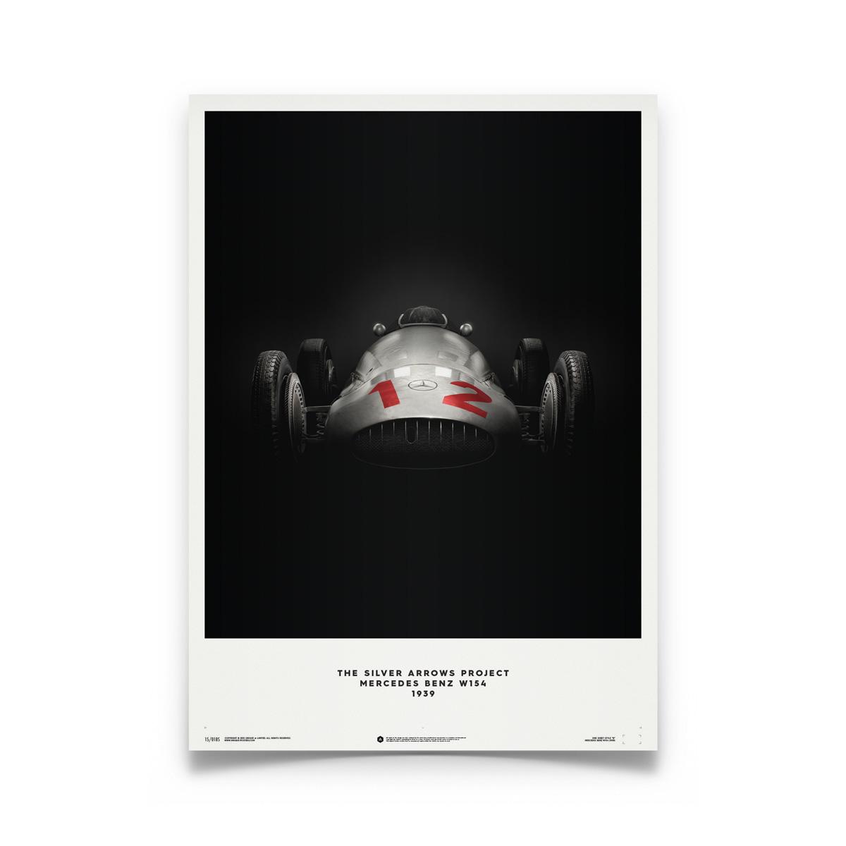 Product image for Rudolf Caracciola – Mercedes Benz W154 – Le Mans 1938 | Automobilist | Limited Edition poster