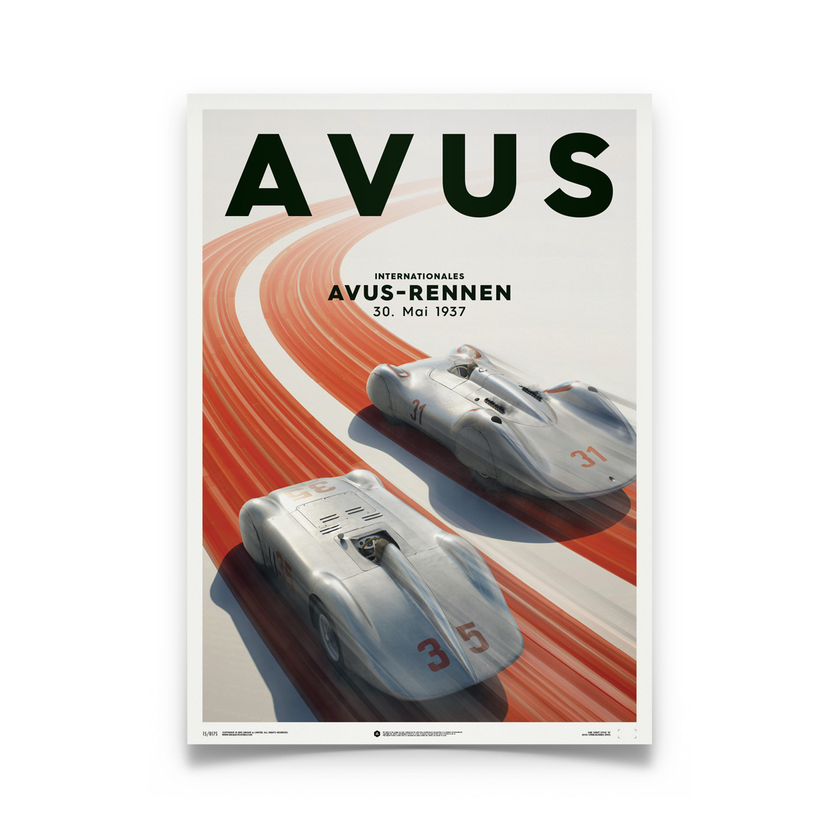 Product image for Silver Avus – Mercedes Benz & Auto Union – 1937 | Automobilist | Limited Edition poster
