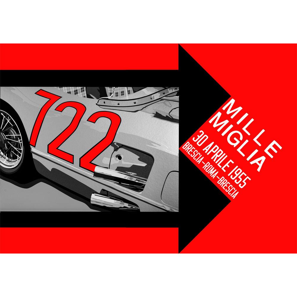 Product image for Mille Miglia 722 | Stirling Moss - Mercedes-Benz 300 SLR - 1955 | Joel Clark | Landscape Poster