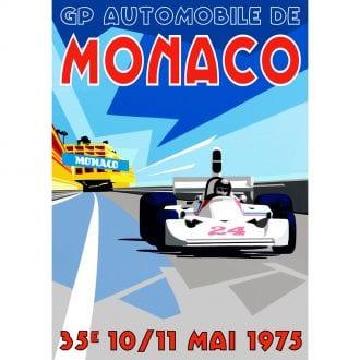Product image for James Hunt - Hesketh 308 - 1975 | Monaco GP Poster | Joel Clark
