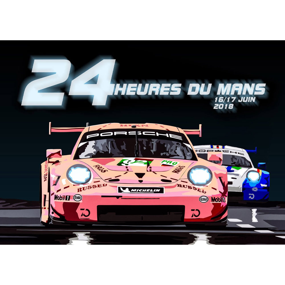 Product image for Pink Pig | Porsche 911RSR - Le Mans - 2018 | Joel Clark | Landscape Poster