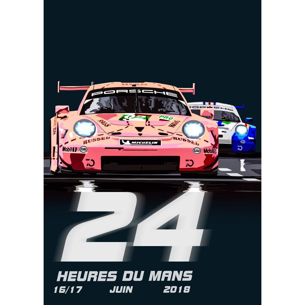 Product image for Pink Pig | Porsche 911RSR - Le Mans - 2018 | Joel Clark | poster