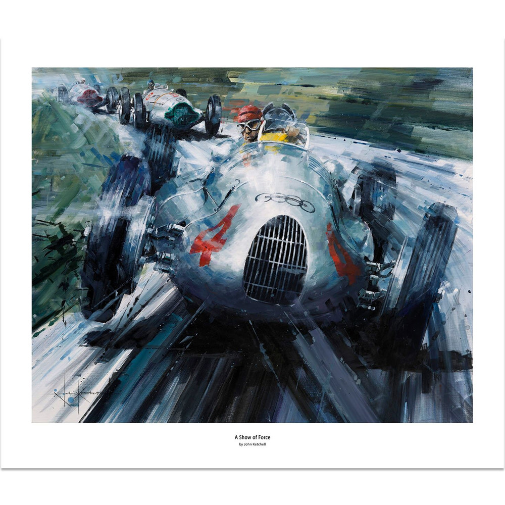 Product image for A Show of Force   Tazio Nuvolari - Auto Union Type D - 1938   Limited Edition print