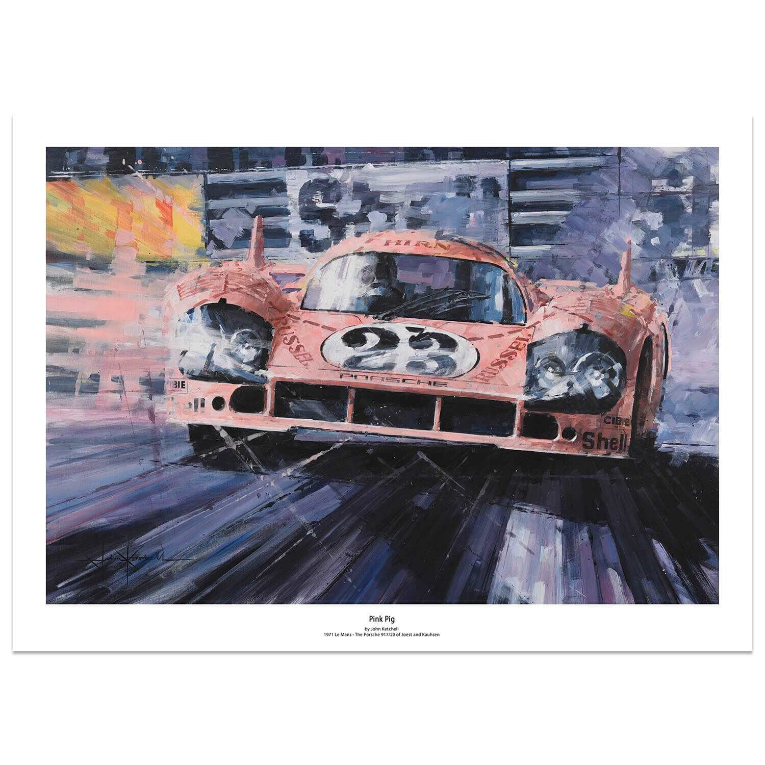 Product image for Pink Pig | Porsche 917K -  Le Mans - 1971 | John Ketchell | Limited Edition print
