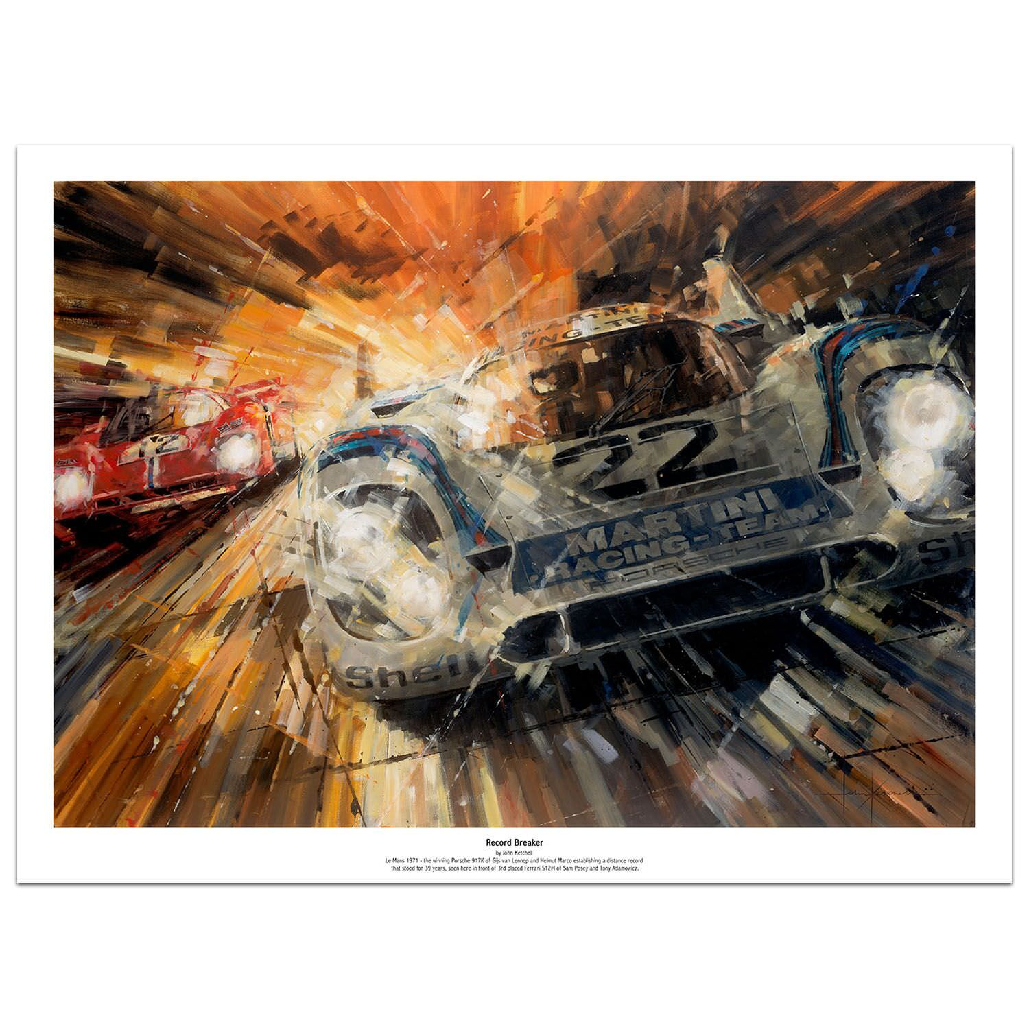 Product image for Record Breaker | Porsche 917K -  Le Mans - 1971 | John Ketchell | Limited Edition print