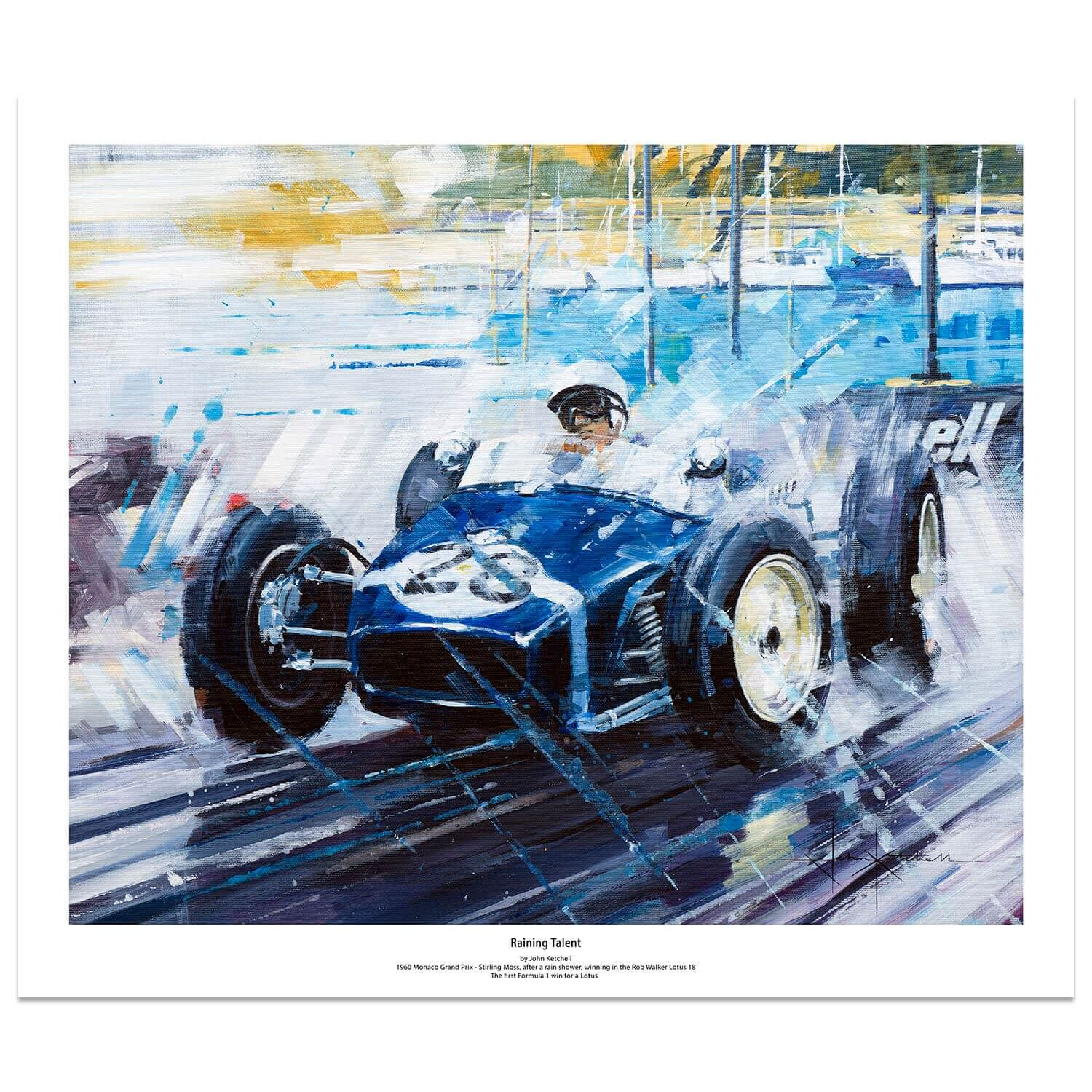 Product image for Raining Talent | Stirling Moss – Lotus 18 – 1960 | John Ketchell | Limited Edition print