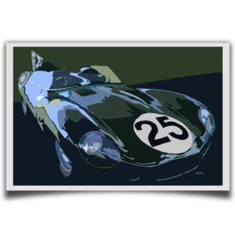 Product image for Jaguar D-Type – Le Mans - 1956 | Jean-Yves Tabourot | Limited Edition print