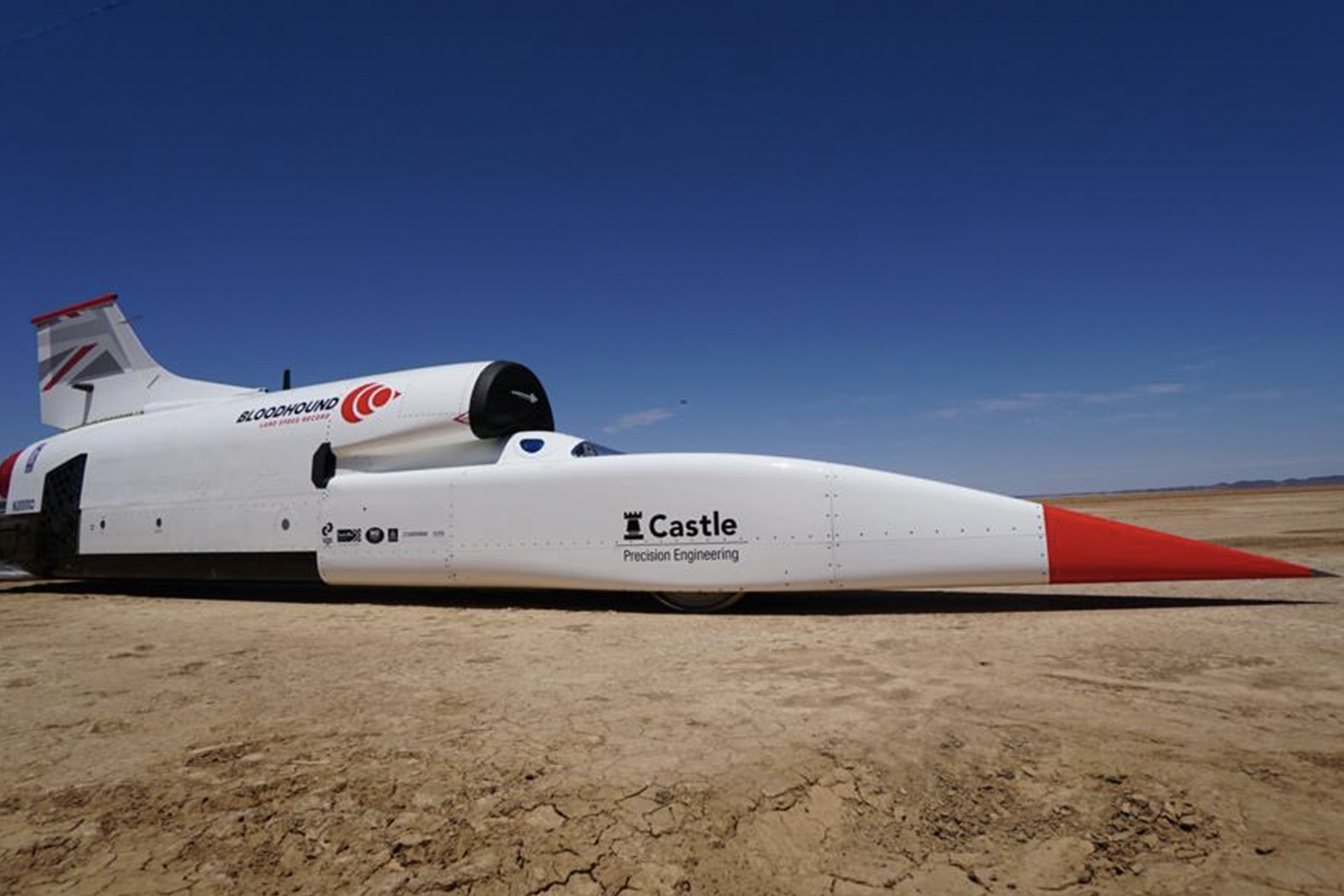 Side view of the Bloodhound Land Speed Record car ahead of speed trials in the South African desert in 2019