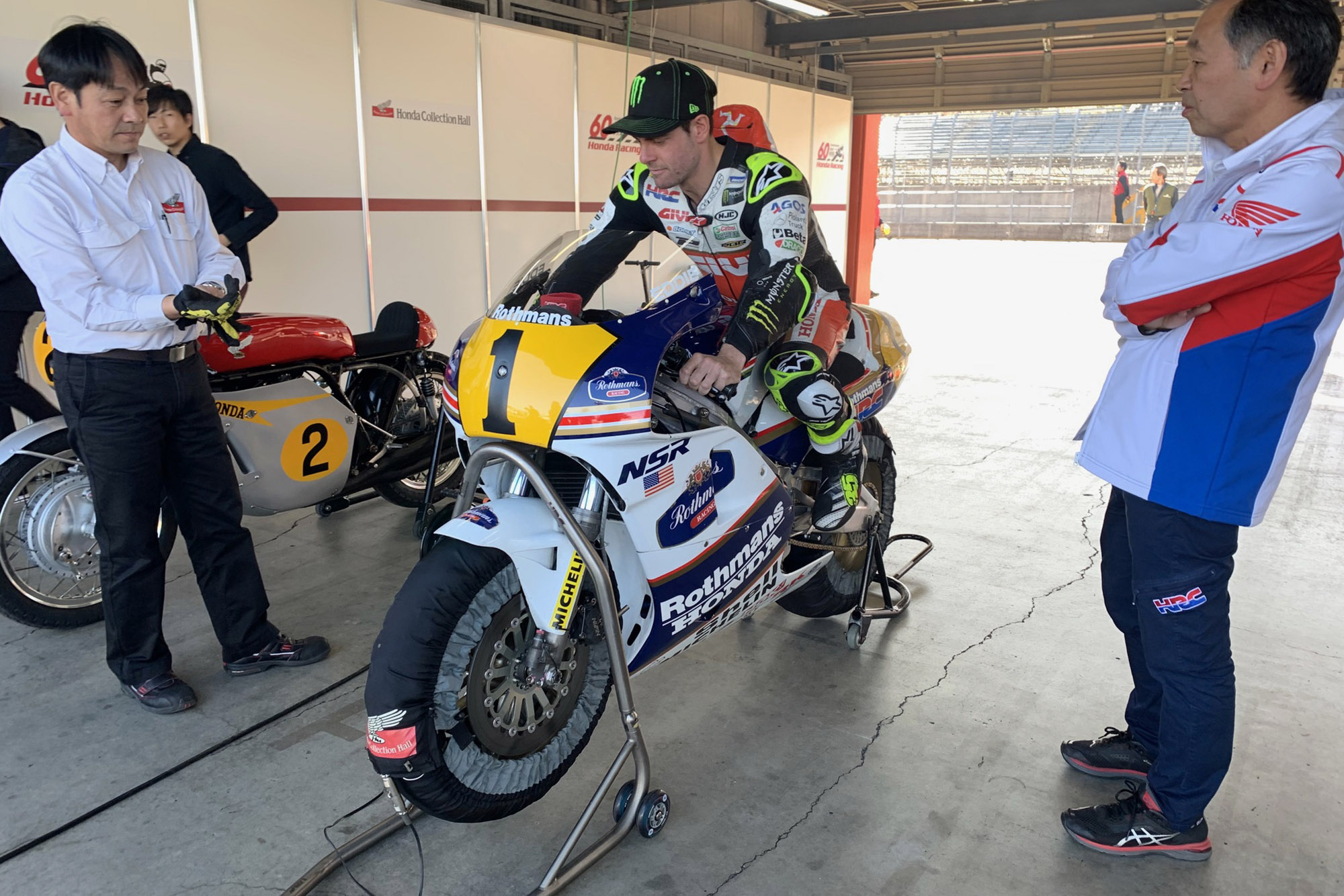 Cal Crutchlow on Eddie Lawson's Honda NSR500 in the pits during the Honda Thanks Day 2019