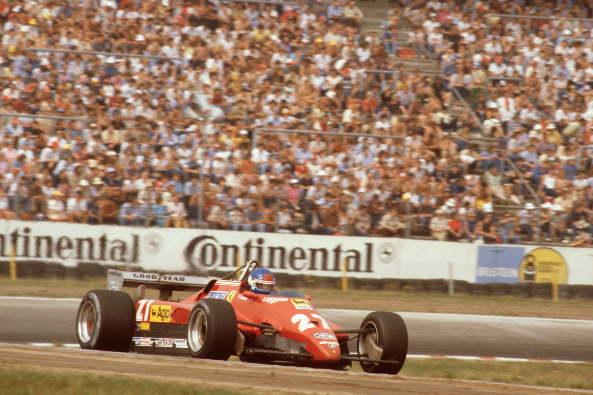 Patrick Tambay at the wheel of the Ferrari 126 C2 during the 1982 German Grand Prix which he went on to win