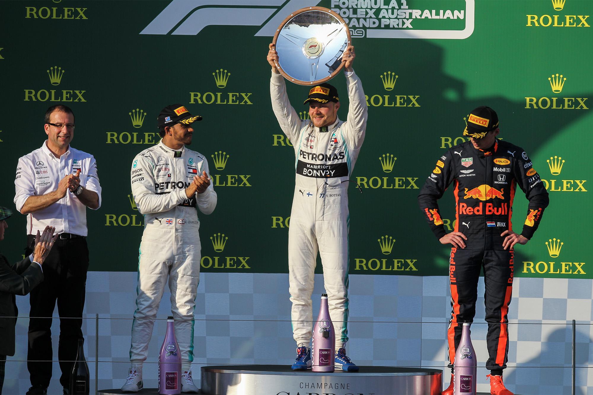 Valtteri Bottas celebrates his victory at the 2019 Australian Grand Prix
