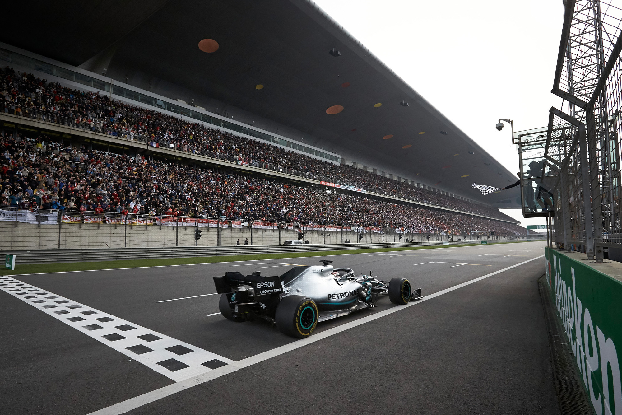 Lewis Hamilton crosses the line to win the 2019 Chinese Grand Prix