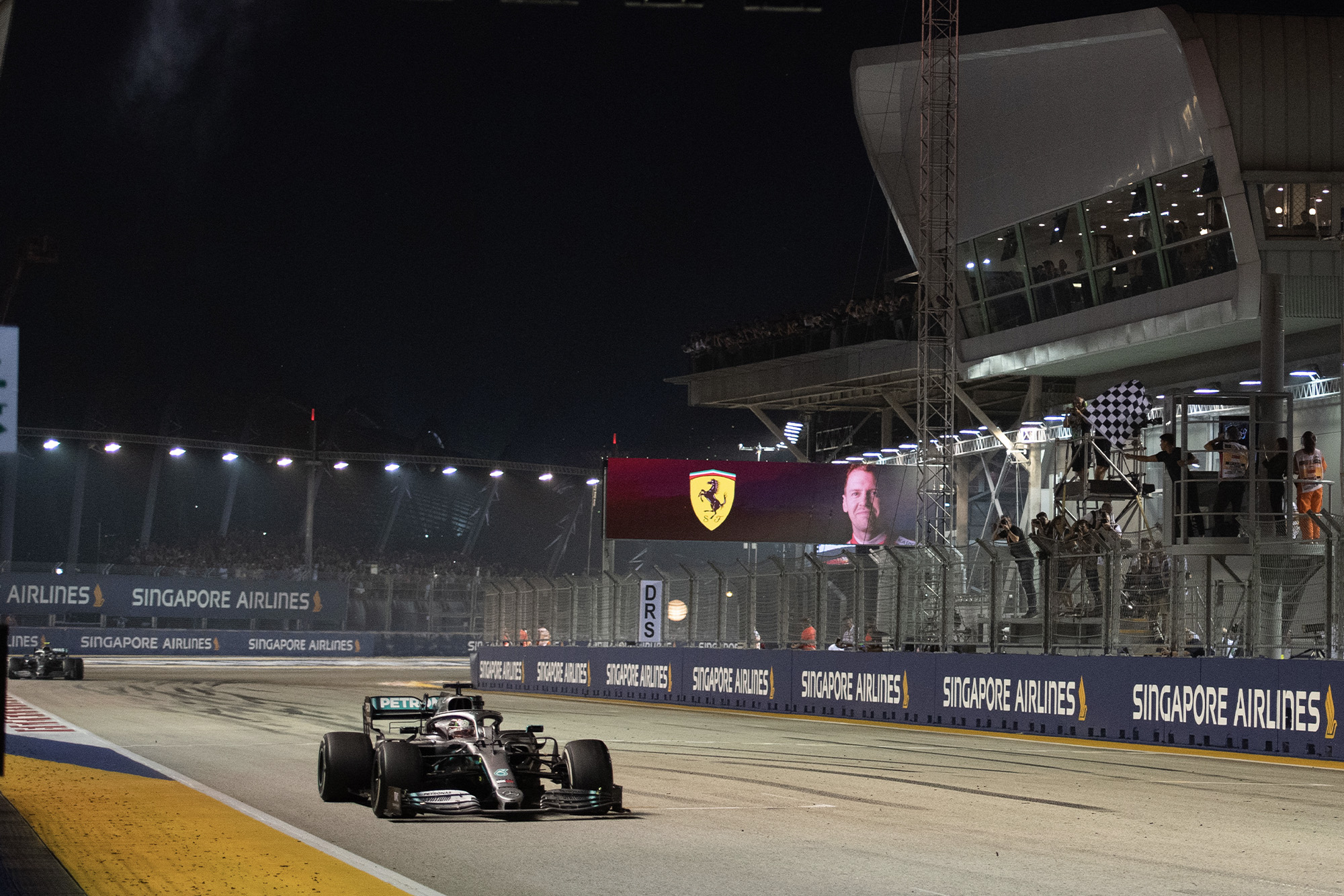 Lewis Hamilton crosses the line to finish the 2019 Singapore Grand Prix in fourth