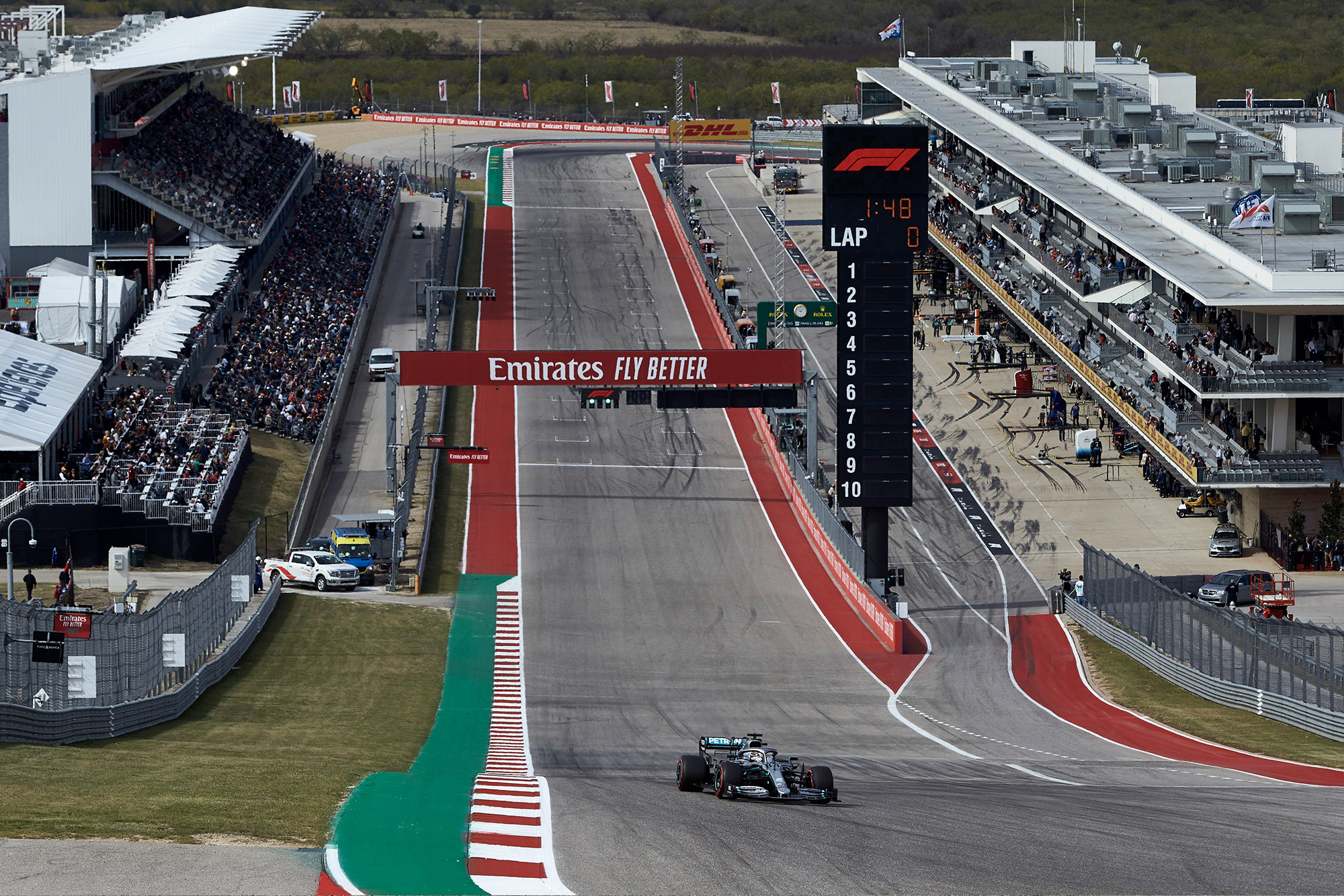 Lewis Hamilton drives up the hill to Turn One during qualifying for the 2019 US Grand Prix