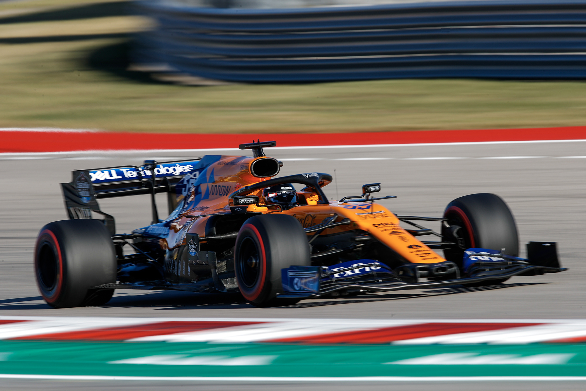 Carlos Sainz in his McLaren during qualifying for the 2019 United States Grand Prix