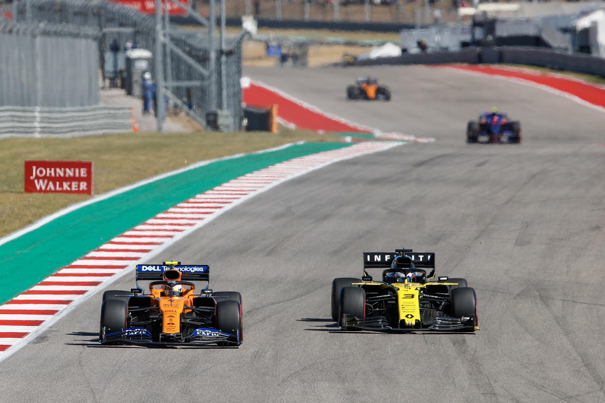 Lando Norris and Daniel Ricciardo side by side during the 2019 US Grand Prix
