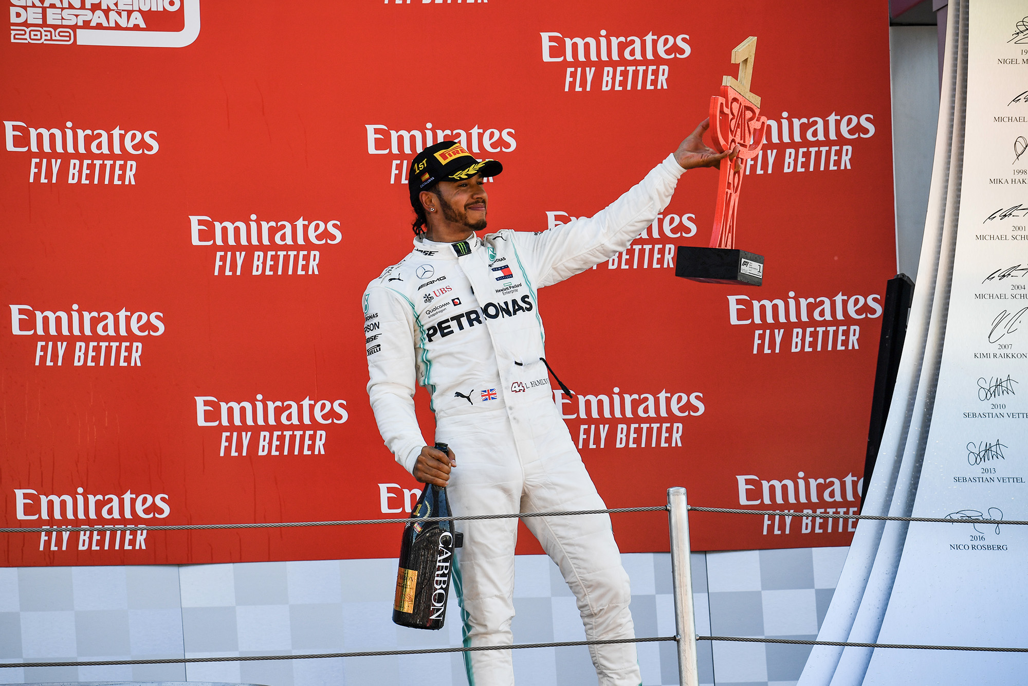 Lewis Hamilton celebrates victory on the podium after the 2019 Spanish Grand prix