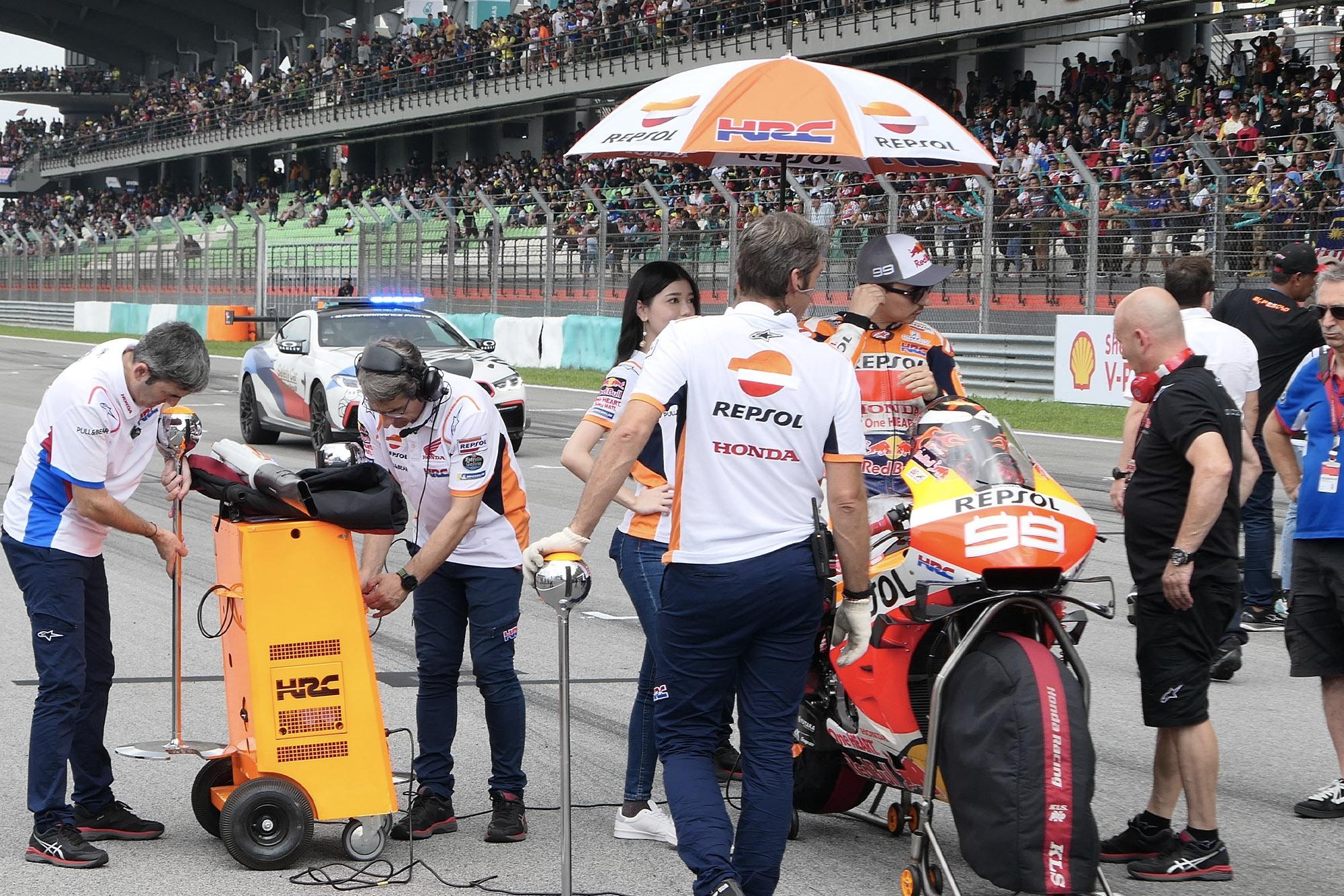 Jorge Lorenzo on the grid at Sepang