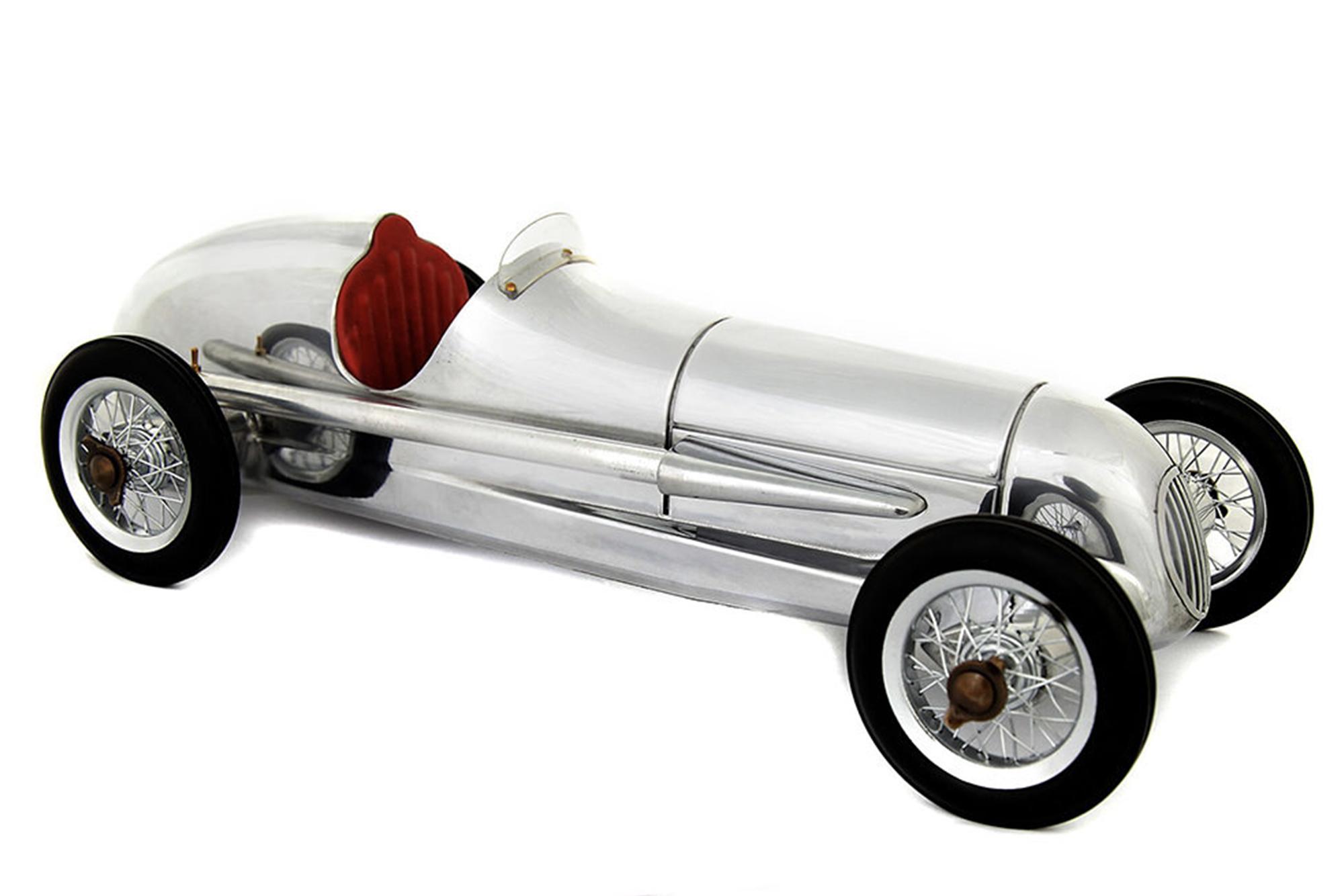 Silver desktop racer car model