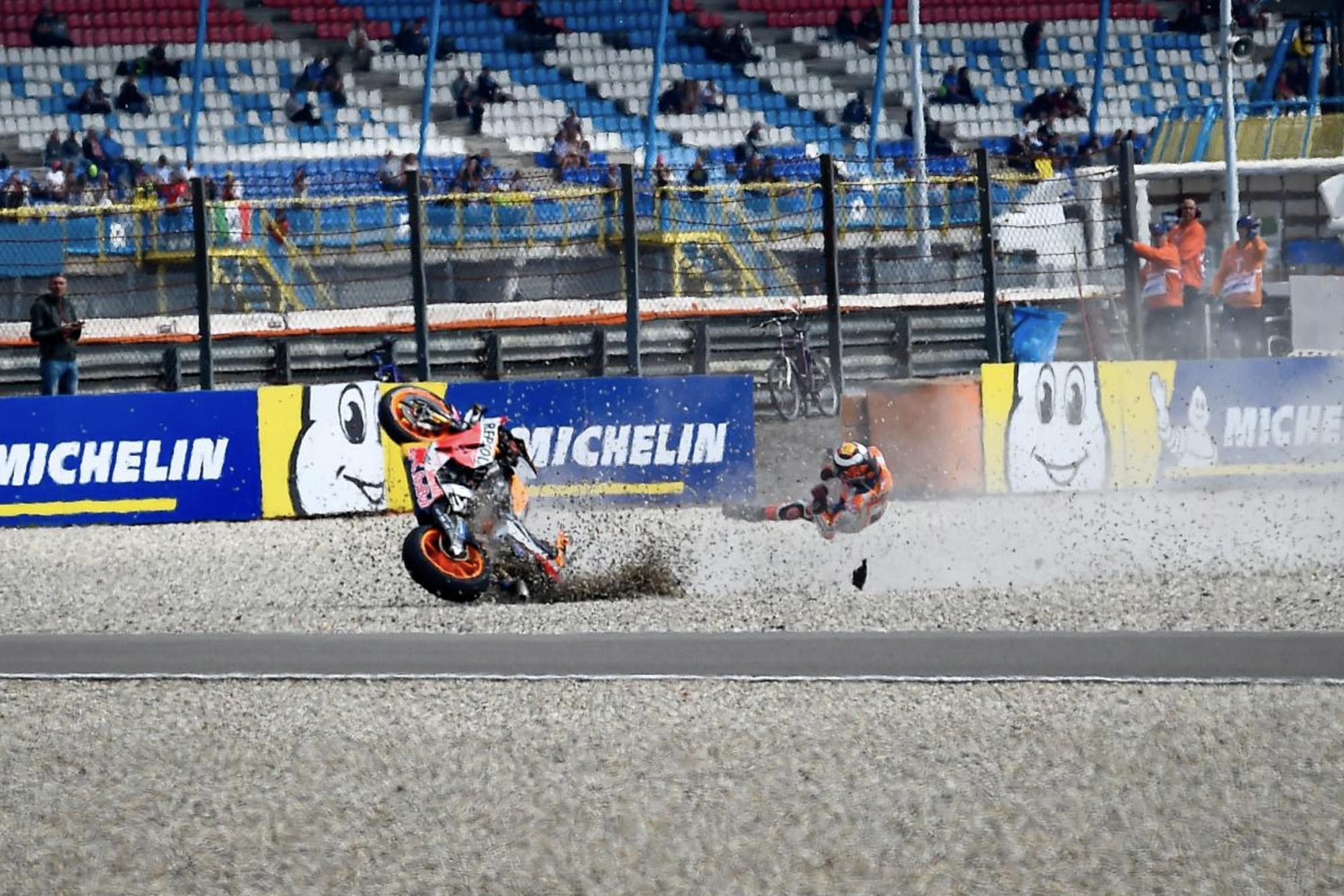 Jorge Lorenzo's crash during the Dutch TT in 2019