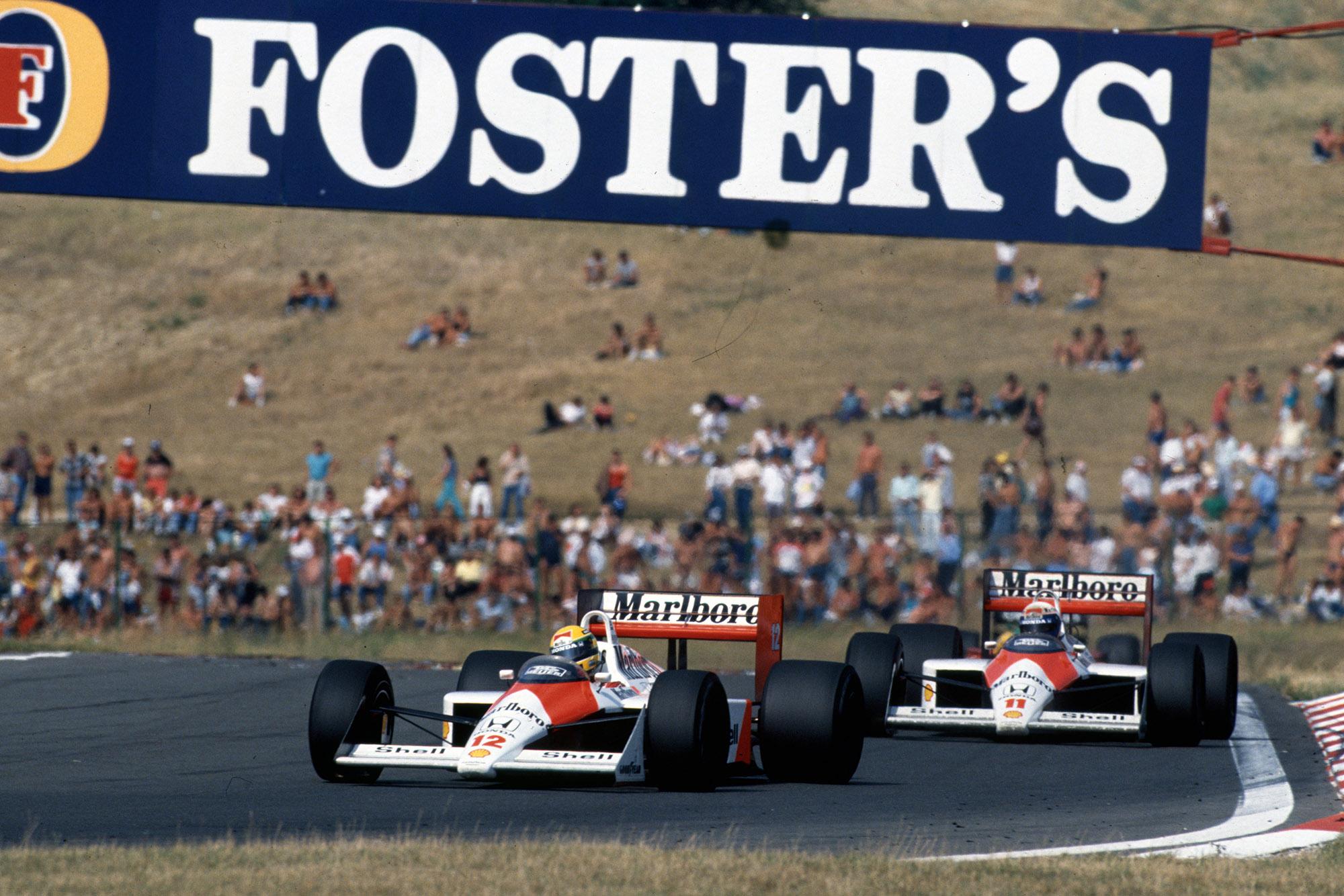 Ayrton Senna and Alain Prost in the 1988 McLaren-Honda MP4/4