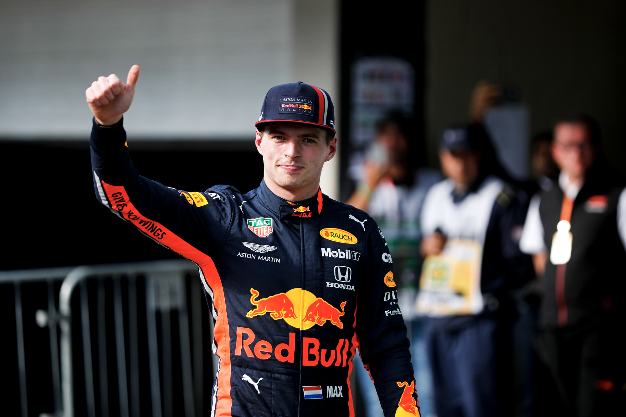 Max Verstappen gives a thumbs up after clinching pole position at the 2019 F1 Brazilian Grand prix