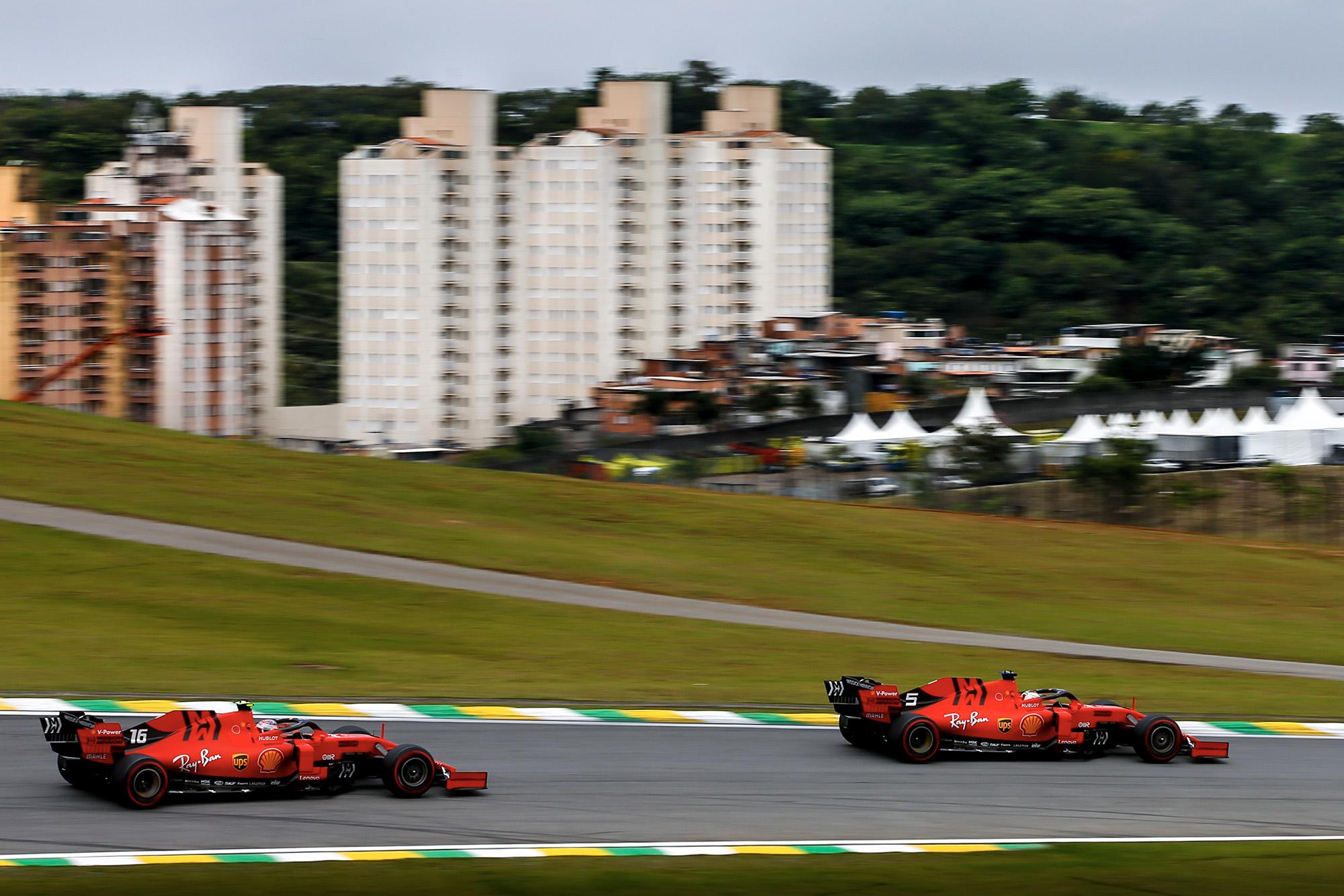 Sebastian Vettel leads Charles Leclerc in qualifying for the 2019 F1 Brazilian Grand Prix