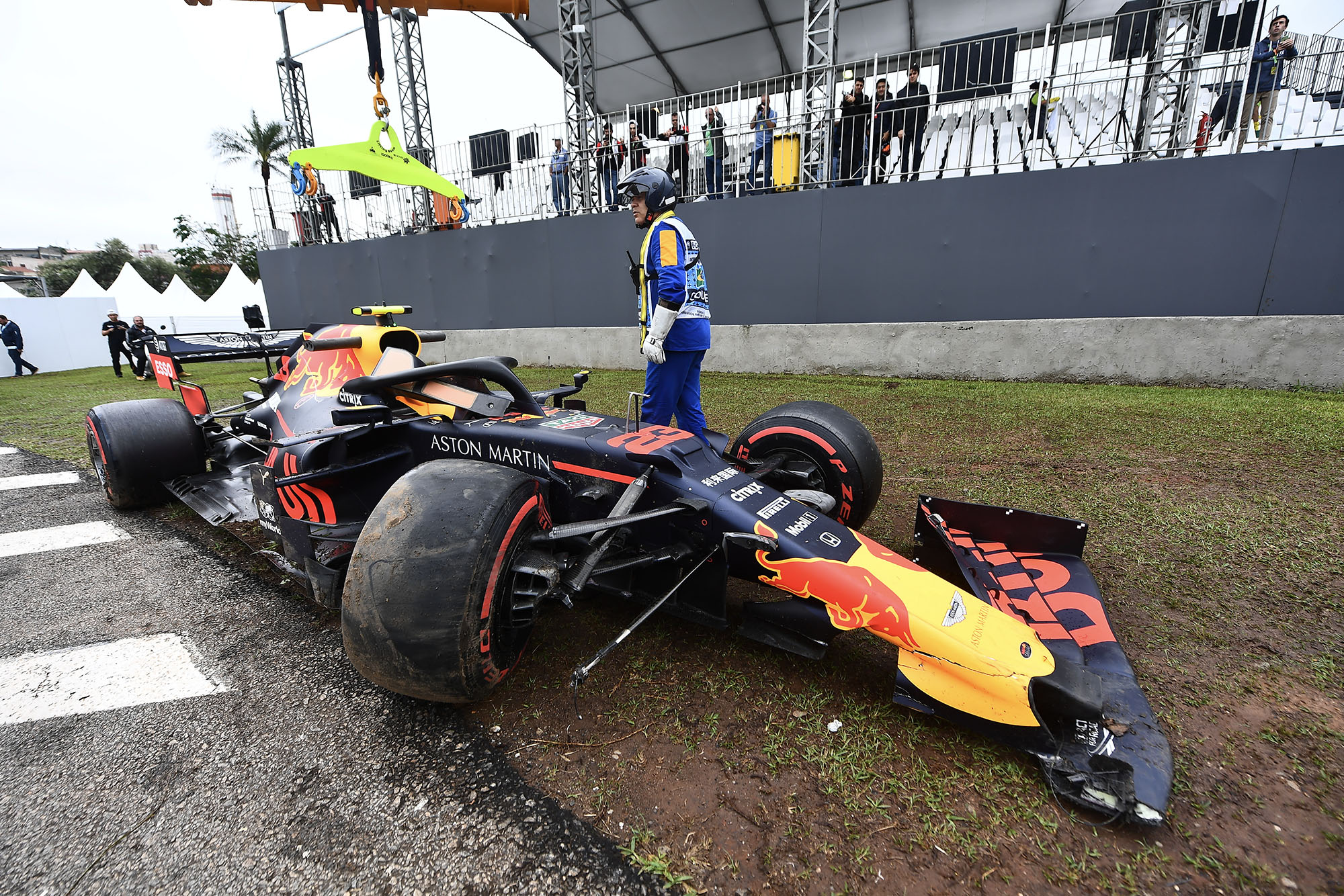 Alexander Albon's crashed car during Friday practice for the 2019 F1 Brazilian Grand Prix
