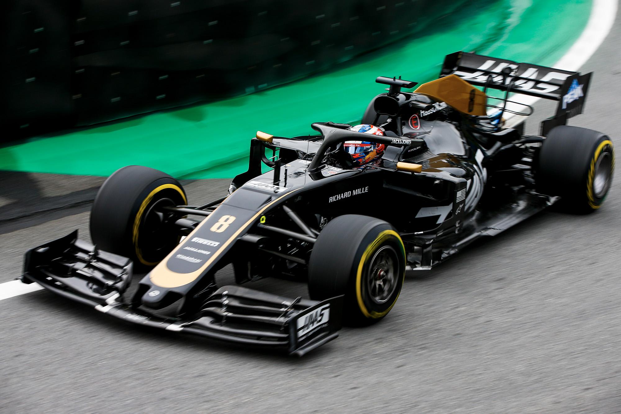 Romain Grosjean during practice for the 2019 F1 Brazilian Grand Prix
