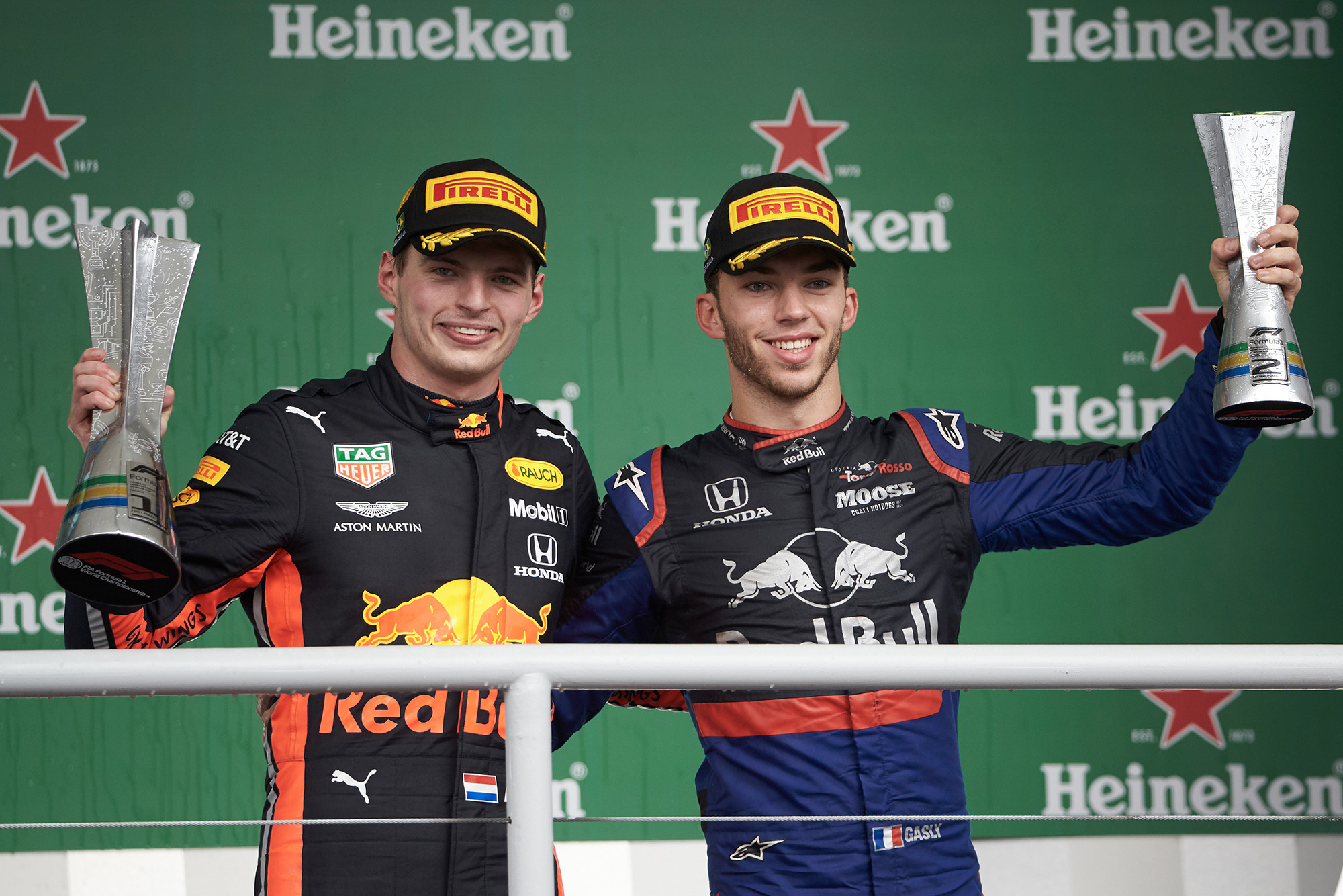 Max Verstappen and Pierre Gasly on the podium at the 2019 Brazilian Grand Prix