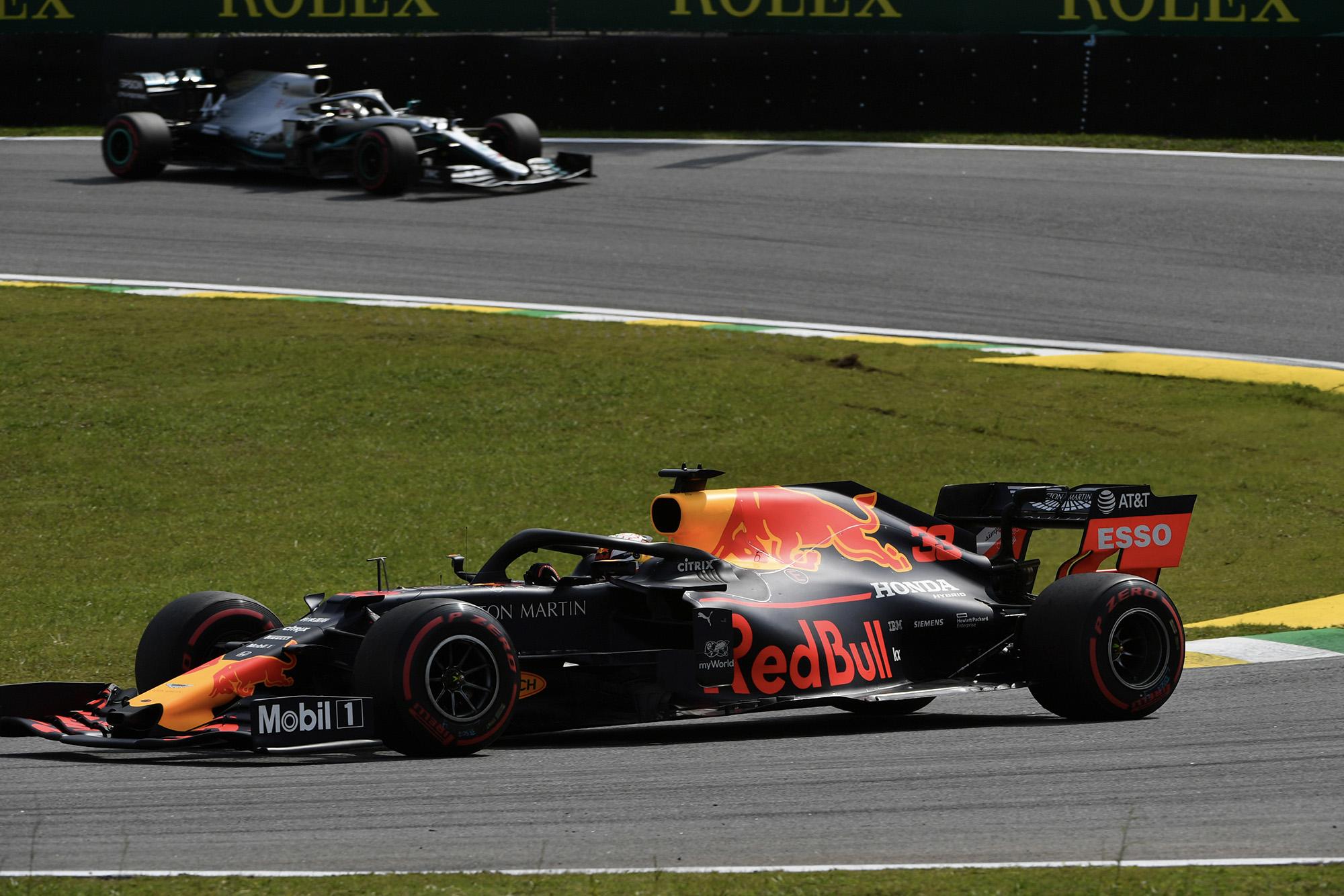 Verstappen leads Hamilton at the 2019 Brazilian Grand Prix