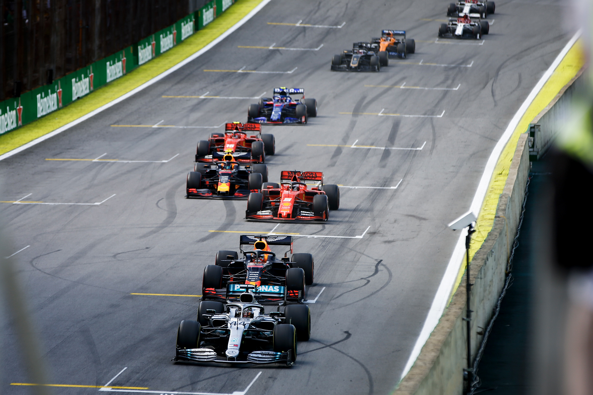 Hamilton ahead during the first restart after the safety car at the 2019 Brazilian Grand Prix