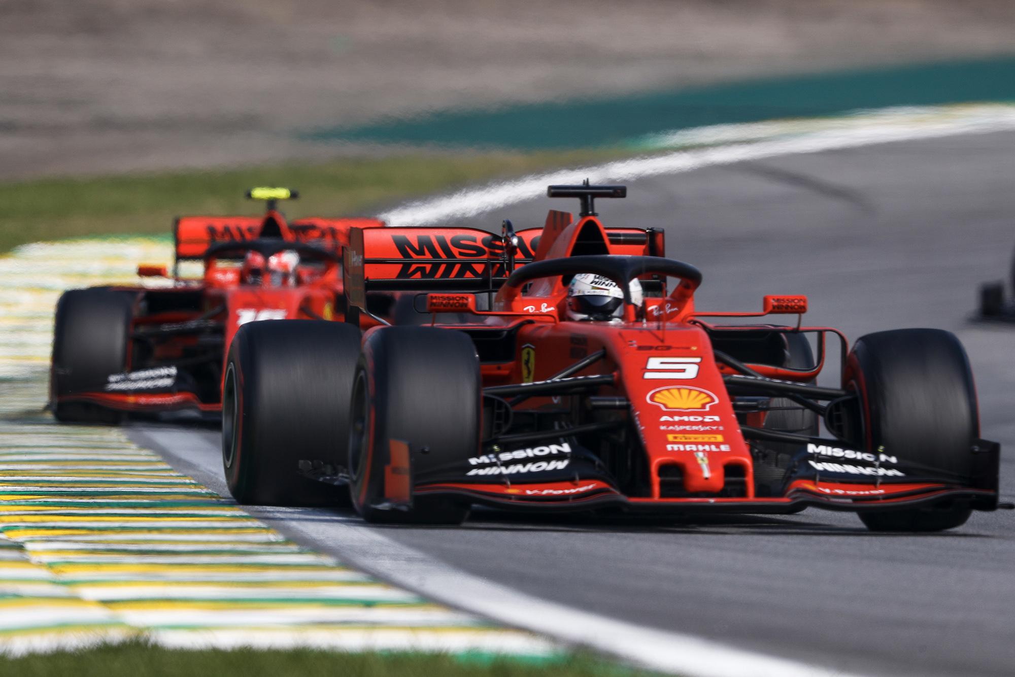 Vettel leads Leclerc at the 2019 Brazilian Grand Prix