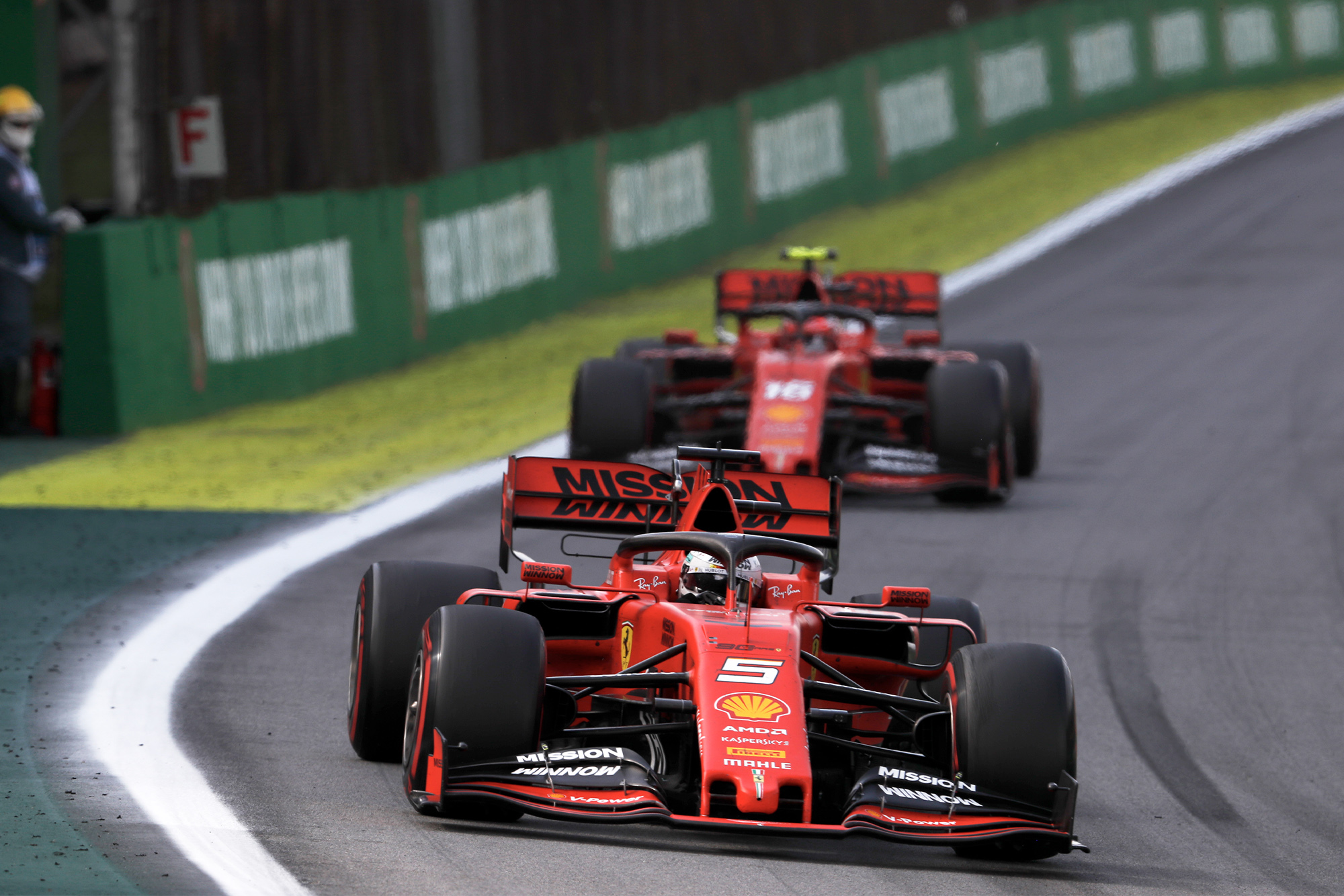 Sebastian Vettel is shadowed by Charles Leclerc during the 2019 Brazilian Grand Prix