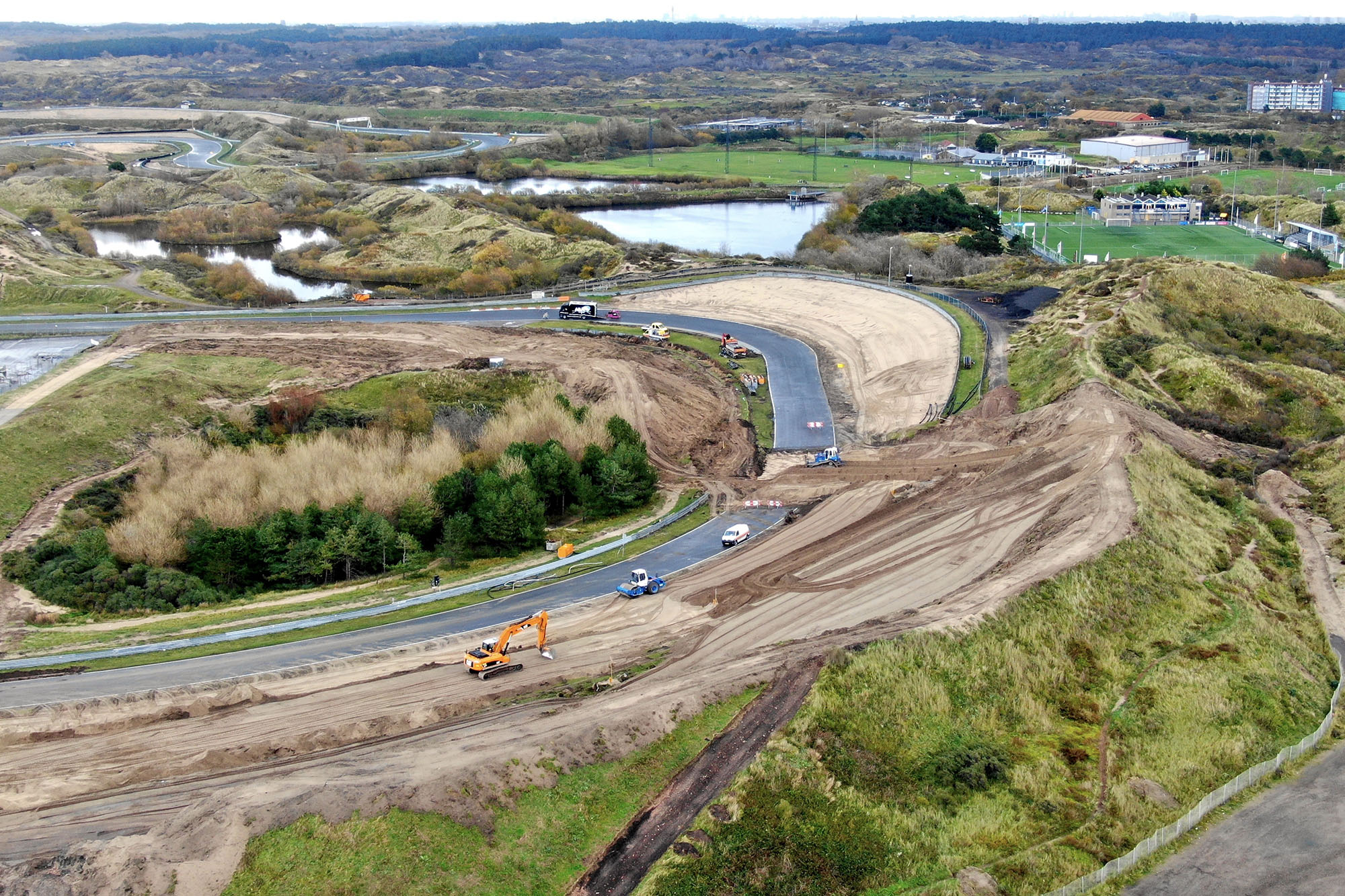 Construction work on the final corner at Zandvoort ahead of next year's Dutch Grand Prix