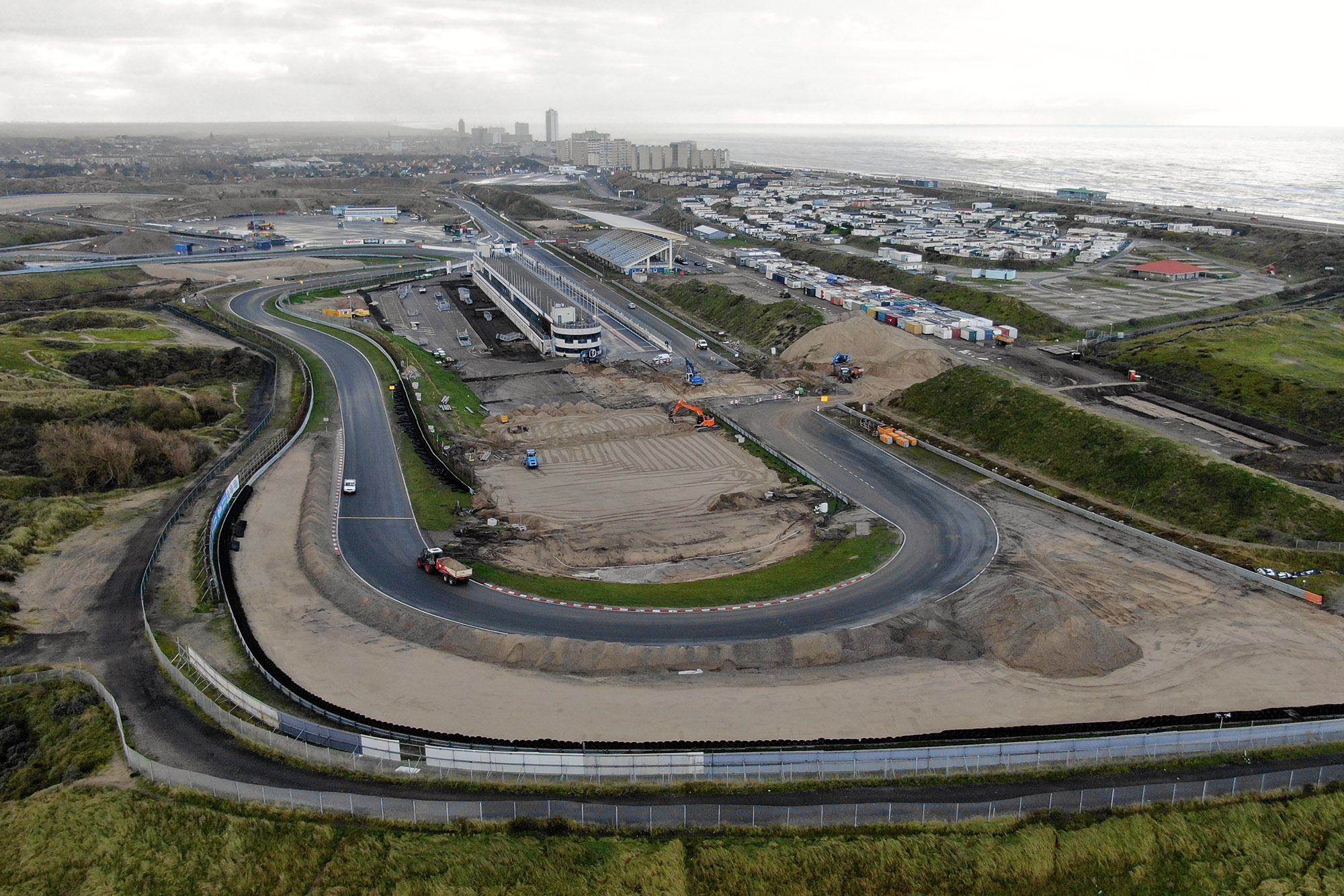 Construction work at Zandvoort as seen from Turn One
