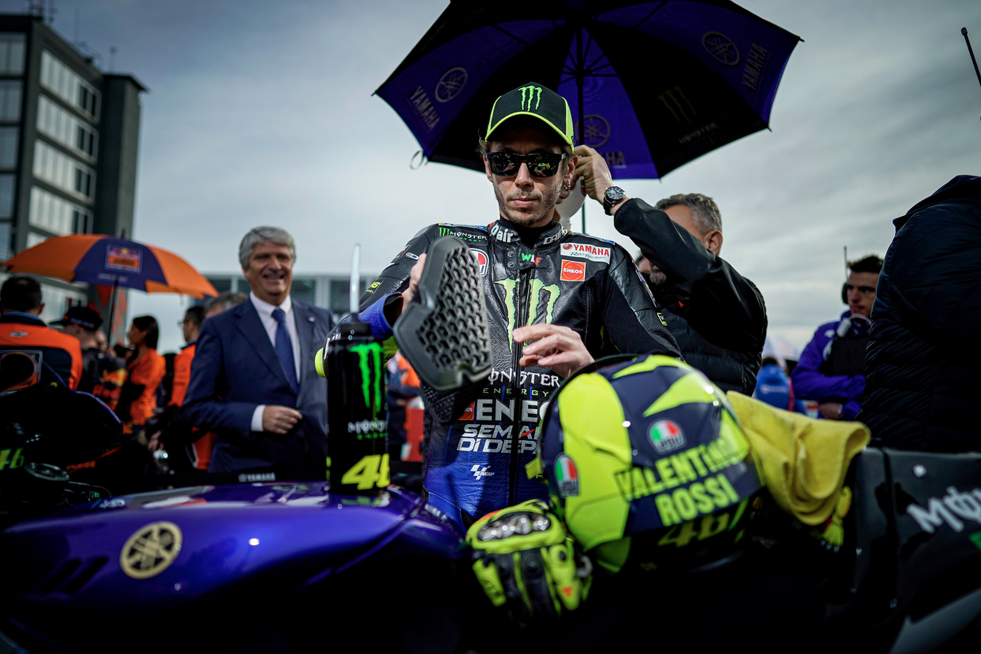 Valentino Rossi on the grid ahead of the 2019 MotoGP Grand Prix of Valencia