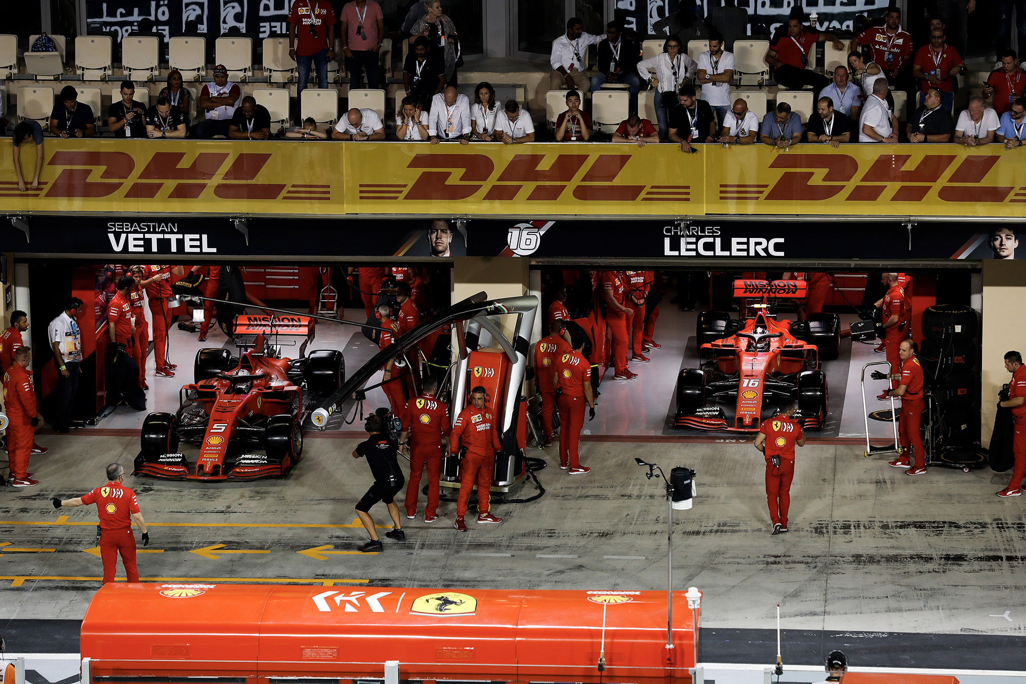 Ferrari releases its cars for another qualifying run at the 2019 Abu Dhabi Grand Prix