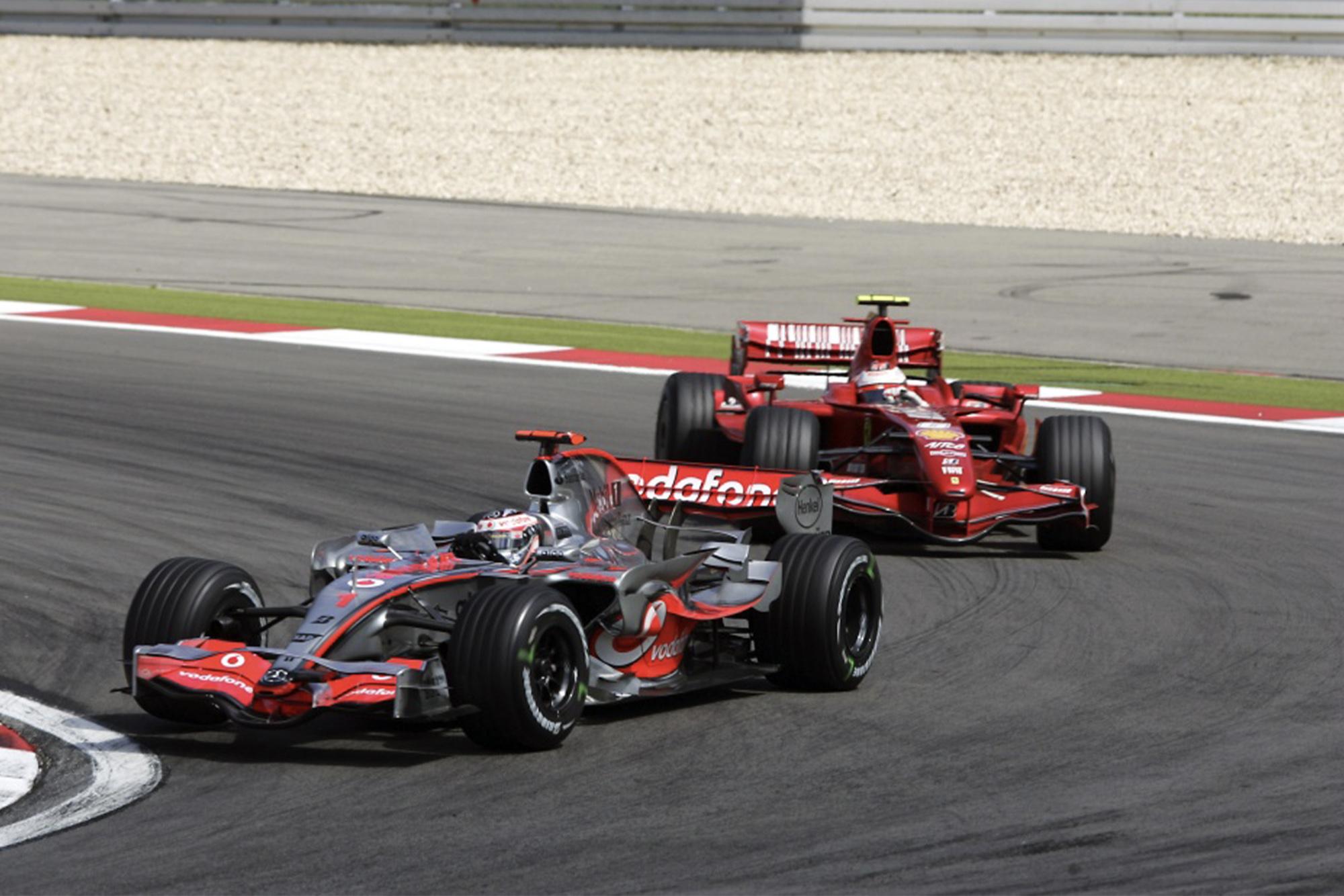 Fernando Alonso in the McLaren and Kimi Raikkonen in the Ferrari during the 2007 German Grand Prix