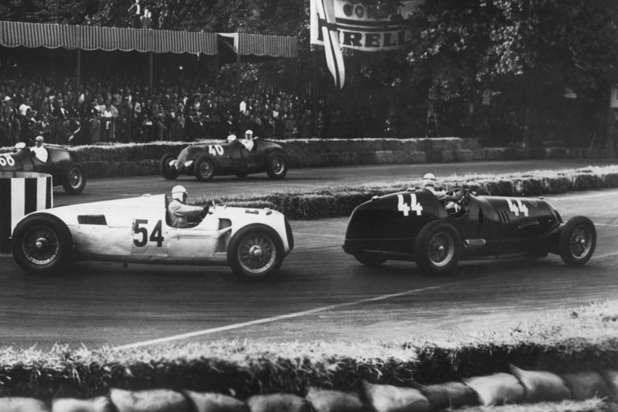 Tazio Nuvolari leads Achille Varzi in Milan in 1936