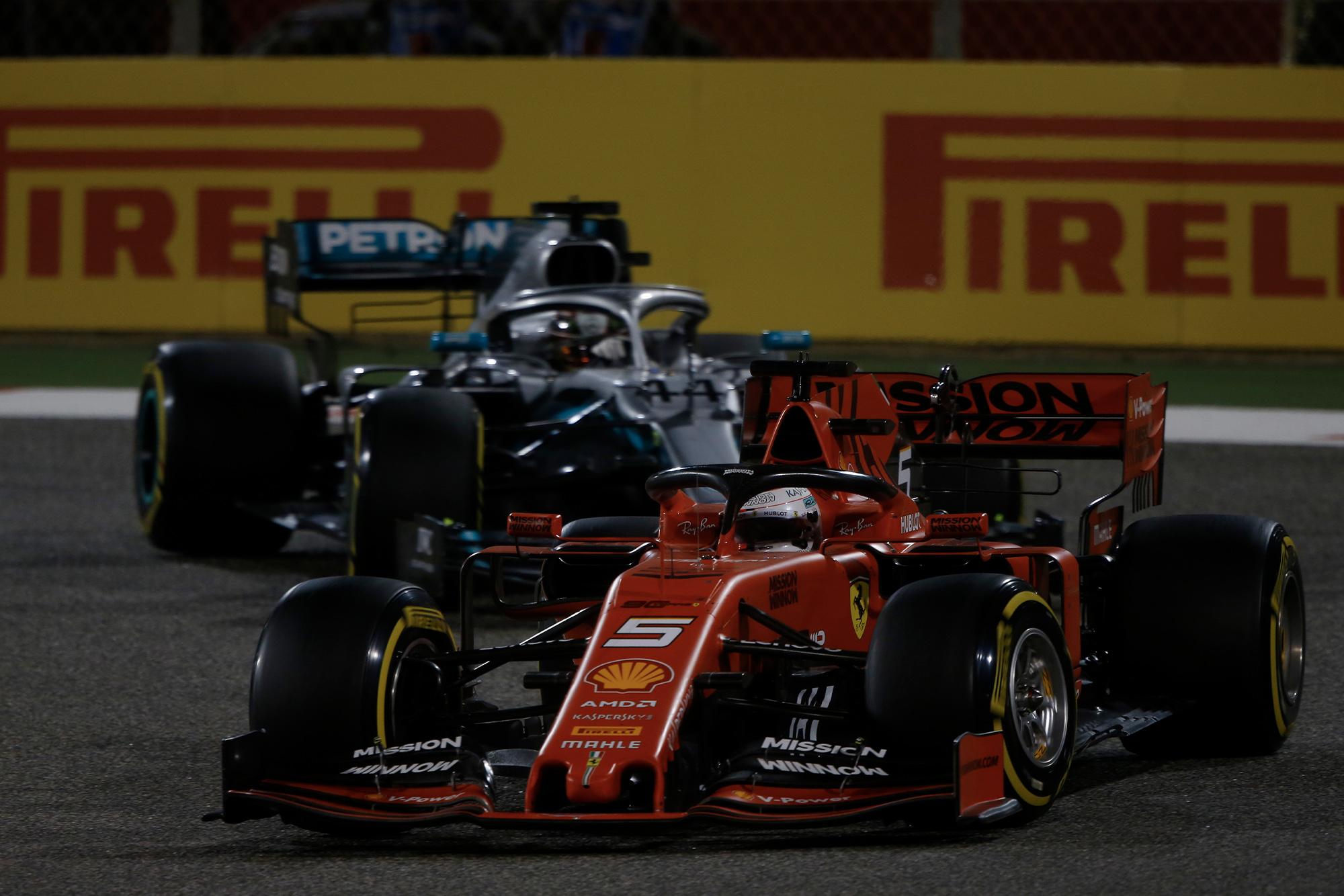 Sebastian Vettel and Lewis Hamilton during the Bahrain Grand Prix