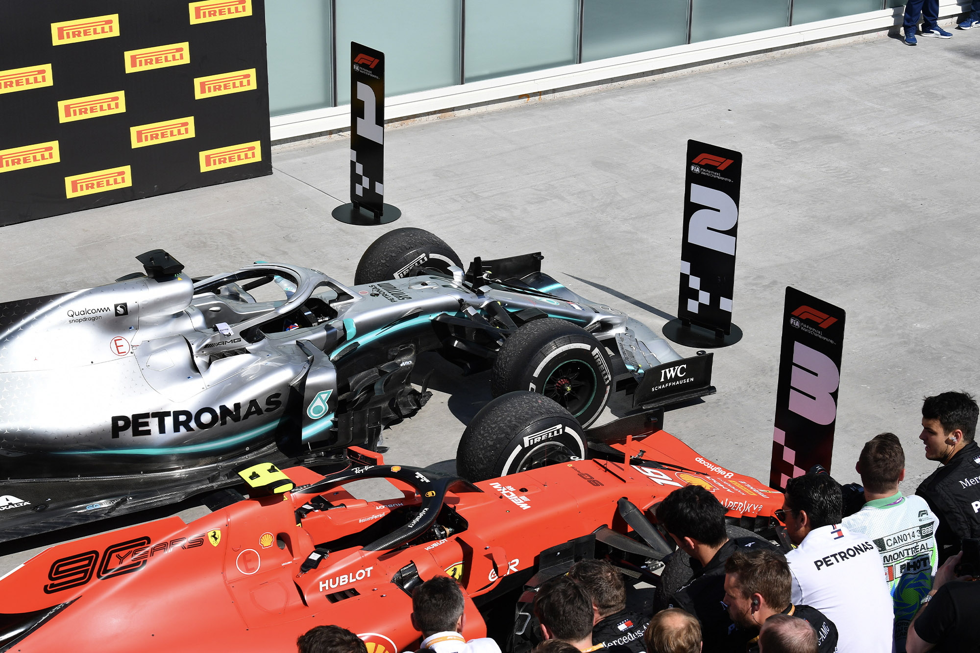 The scene in parc ferme after the 2019 Canadian Grand Prix