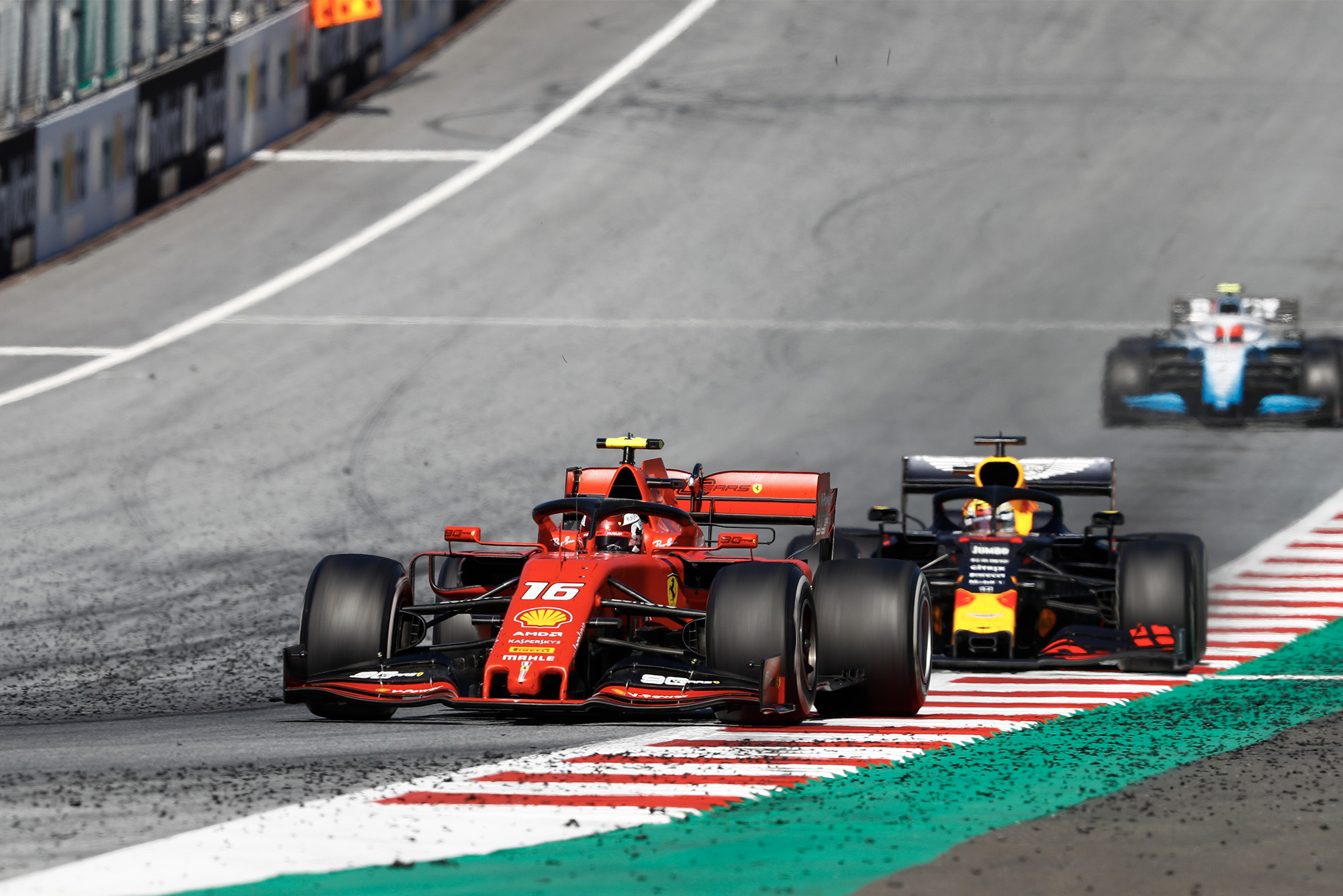 Max Verstappen lines up a move on Charles Leclerc during the 2019 Austrian Grand Prix