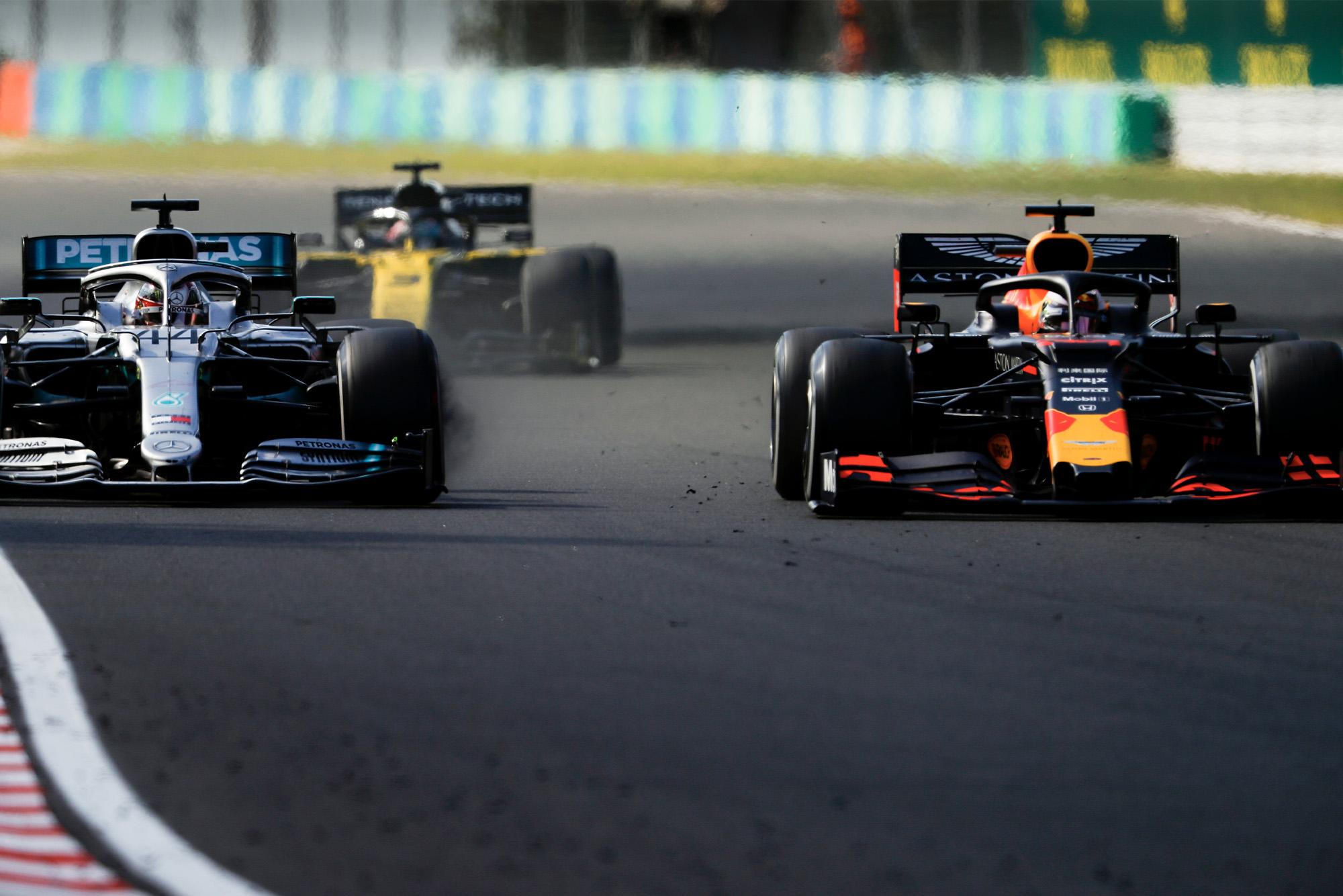 Lewis Hamilton goes wheel-to-wheel with Max Verstappen