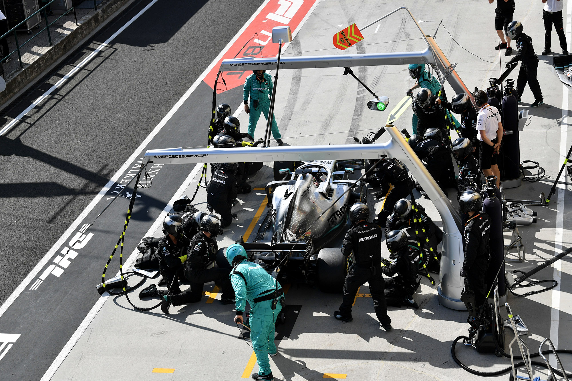 Lewis Hamilton makes his second stop during the 2019 Hungarian Grand Prix