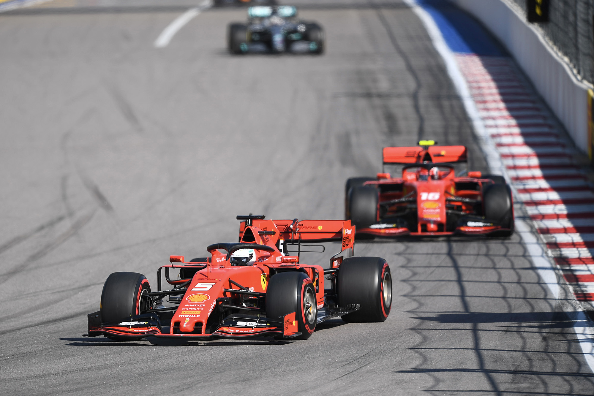 Sebastian Vettel leads Charles Leclerc during the 2020 Russian Grand Prix