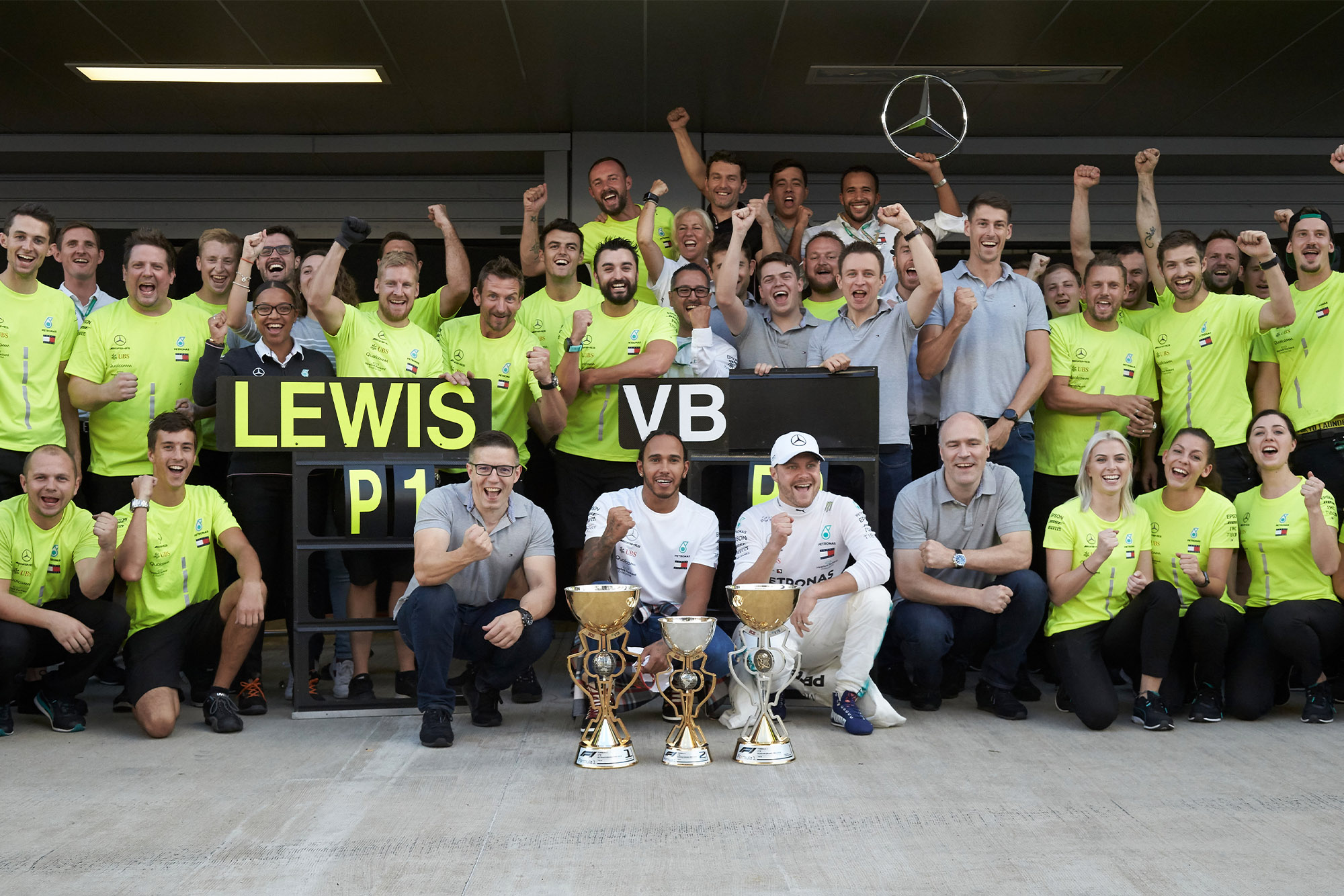 Mercedes celebrate victory at the 2019 Russian Grand Prix