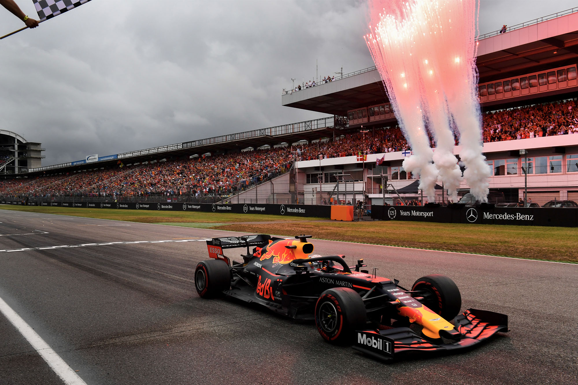 Max Verstappen crosses the line to win the 2019 German Grand Prix
